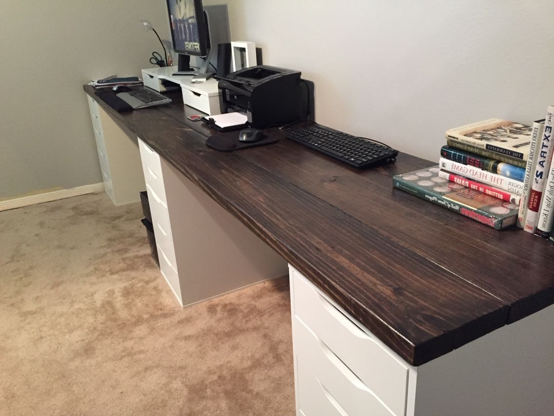 10 Ft Long Wood Office Desk. I Used 2X8X10 Pine Wood And Ikea With Regard To Recent Long Computer Desks (Gallery 4 of 20)