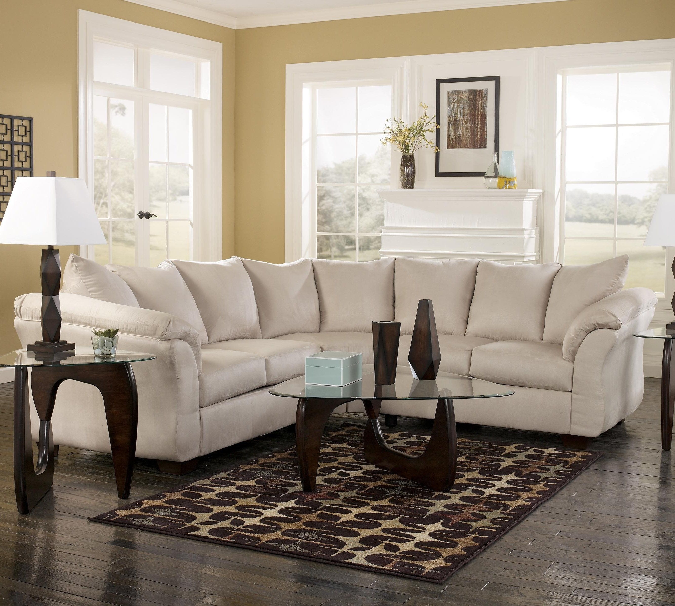 102X102 Sectional Sofas Inside Well Known Signature Designashley Darcy – Stone Contemporary Sectional (View 20 of 20)
