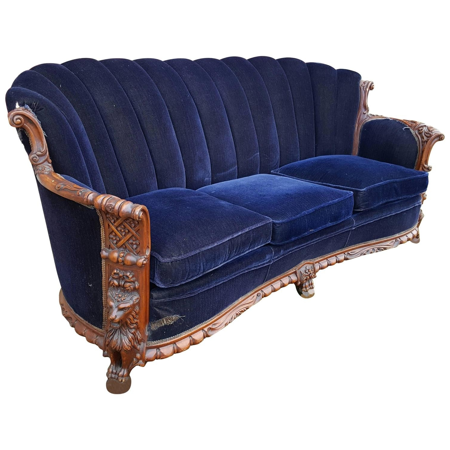 1930S Sofas Intended For Fashionable 1930S Mohair And Carved Wood Sofa, Carved Lion Motif At 1Stdibs (View 3 of 20)