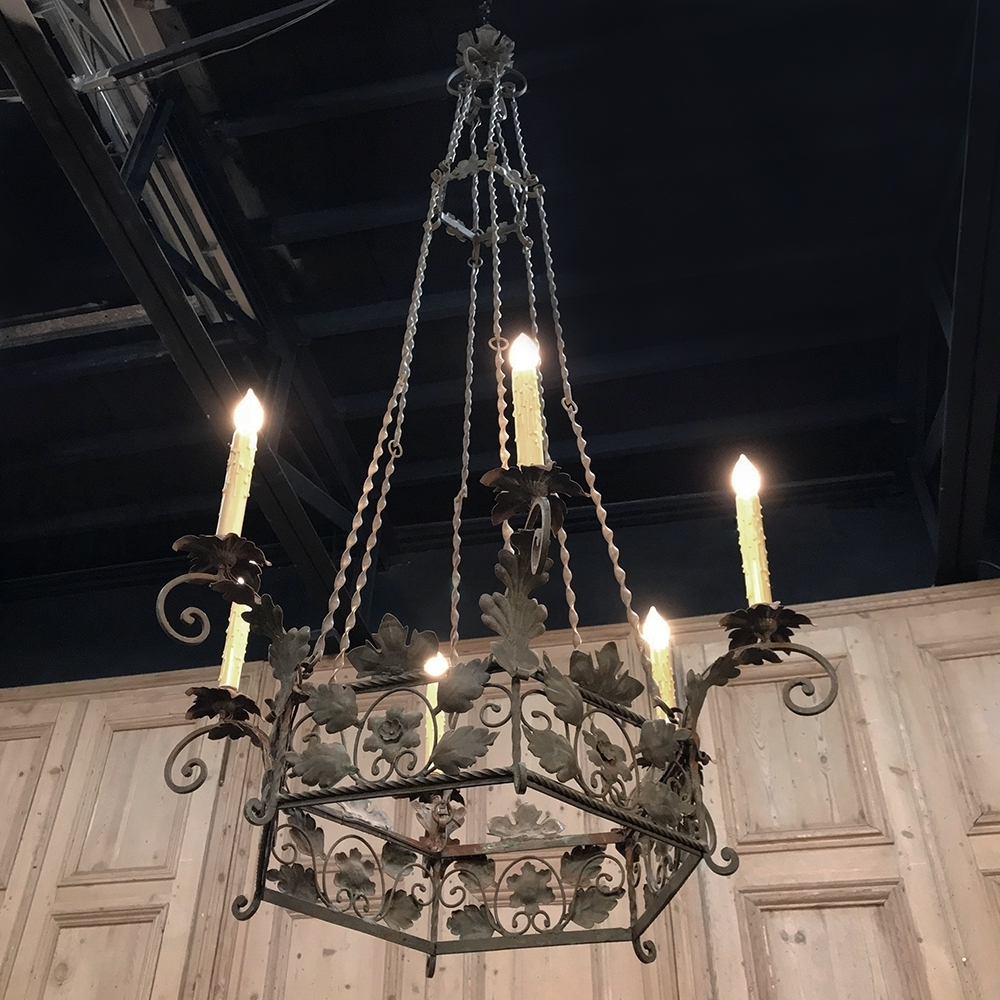 19th Century Italian Wrought Iron Chandelier Within 2018 Wrought Iron Chandeliers (View 17 of 20)