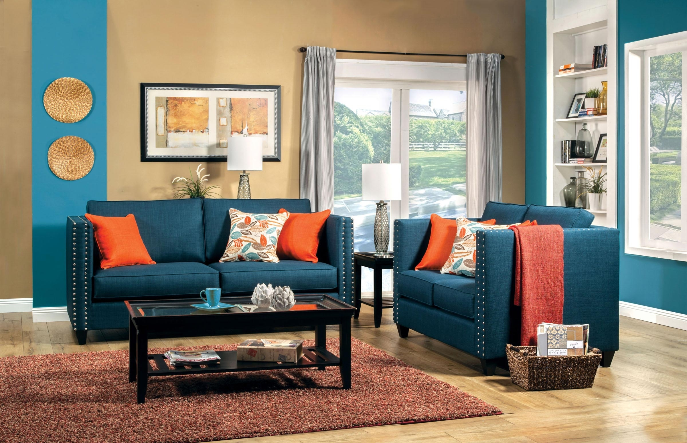 2 Pcs Turquoise Blue Sofa Set Throughout Popular Dark Blue Sofas (View 1 of 20)