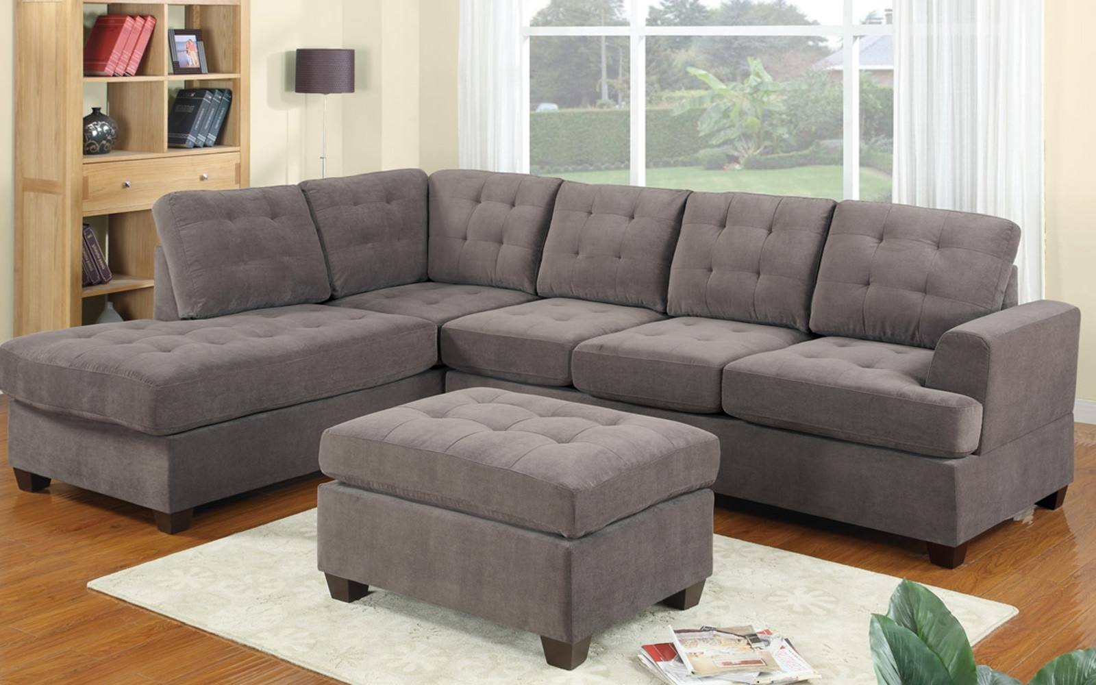 2 Piece Modern Reversible Grey Tufted Microfiber Sectional Sofa Throughout Best And Newest Tufted Sectional Sofas (View 16 of 20)