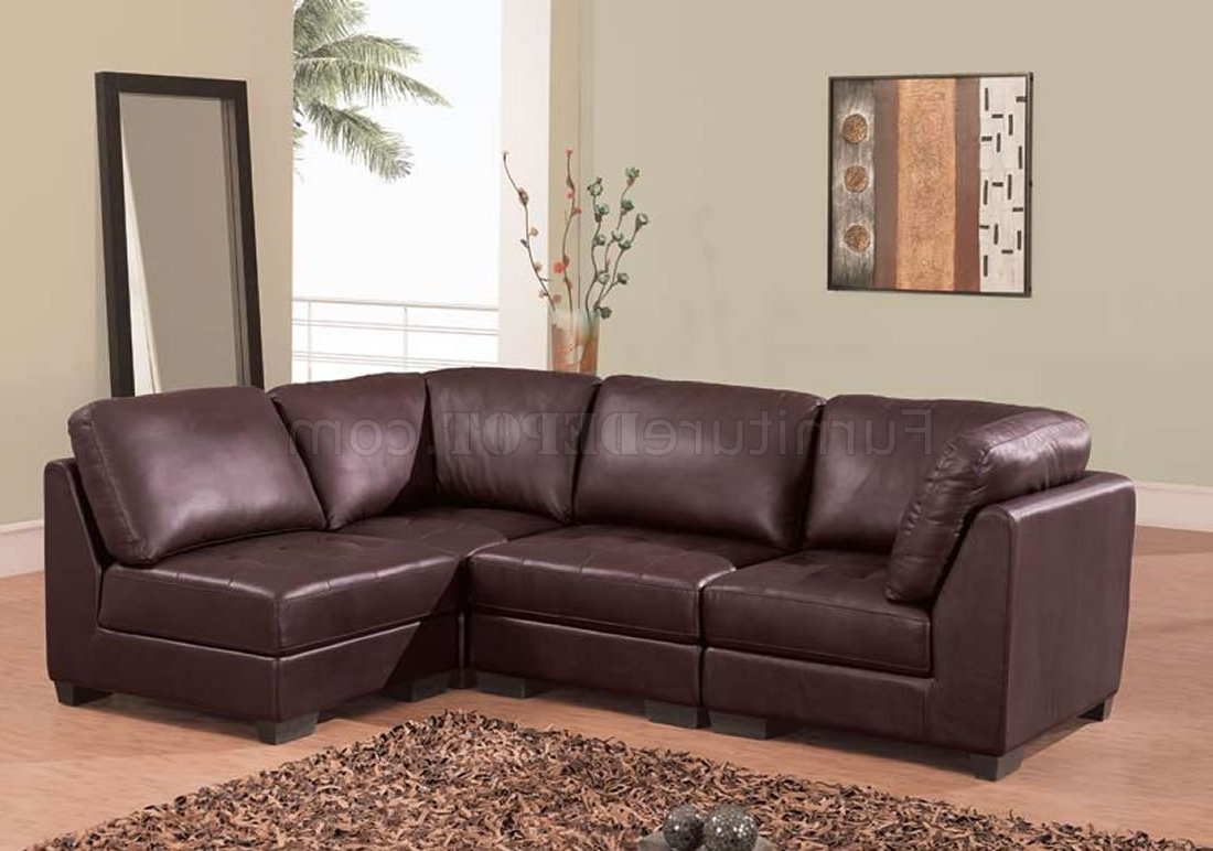 2 Seat Sectional Sofas In Newest Brown Leather 4 Pc Modern Sectional Sofa W/tufted Seats (View 4 of 20)