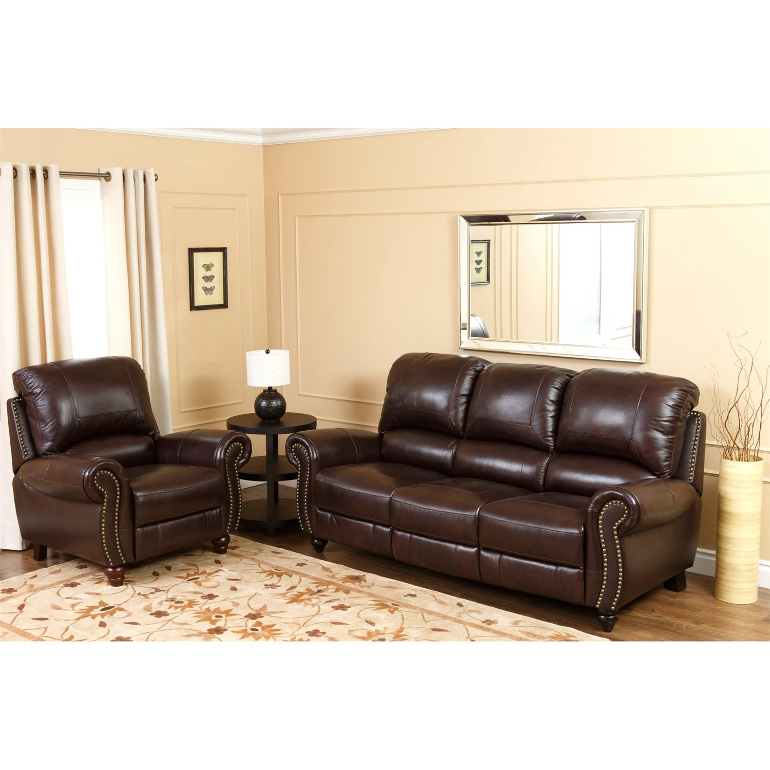 2018 Abbyson Living Ch 8857 Brg 3/1 Canterbury Leather Pushback Pertaining To Canterbury Leather Sofas (View 2 of 20)