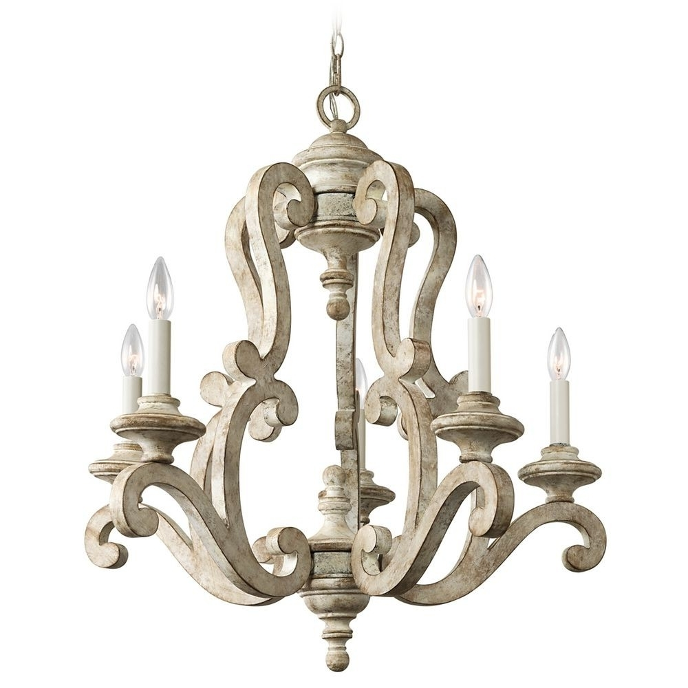 2018 Antique Wooden Candle Chandelier With White Finish – Chandeliers Intended For Wooden Chandeliers (View 1 of 20)