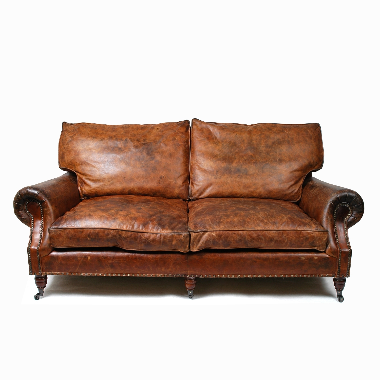 2018 Balmoral 3 Seater Sofa – Cigar Material: Uncorrected Aniline Pertaining To Aniline Leather Sofas (View 2 of 20)