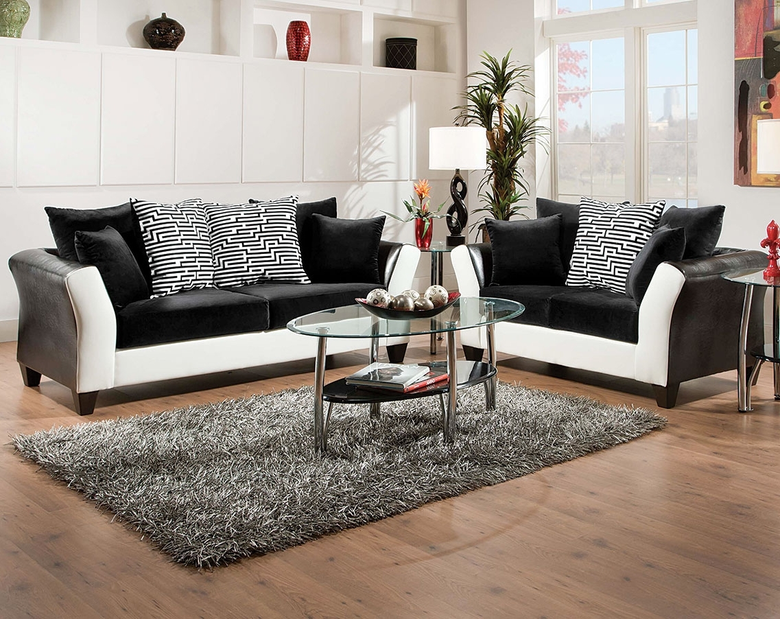 2018 Black, White Couch Set, Patterned Pillows (View 1 of 20)