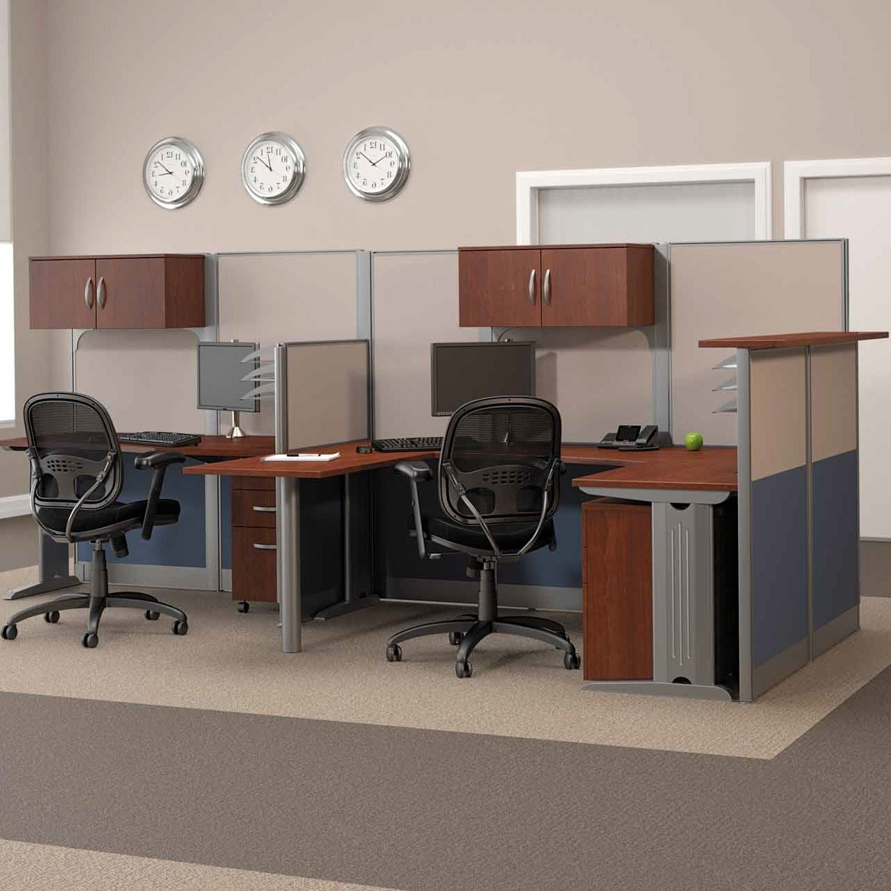 2018 Bush Office In An Hour Melamine U Shaped Double Workstation With Regard To Computer Desks And Workstations (View 1 of 20)