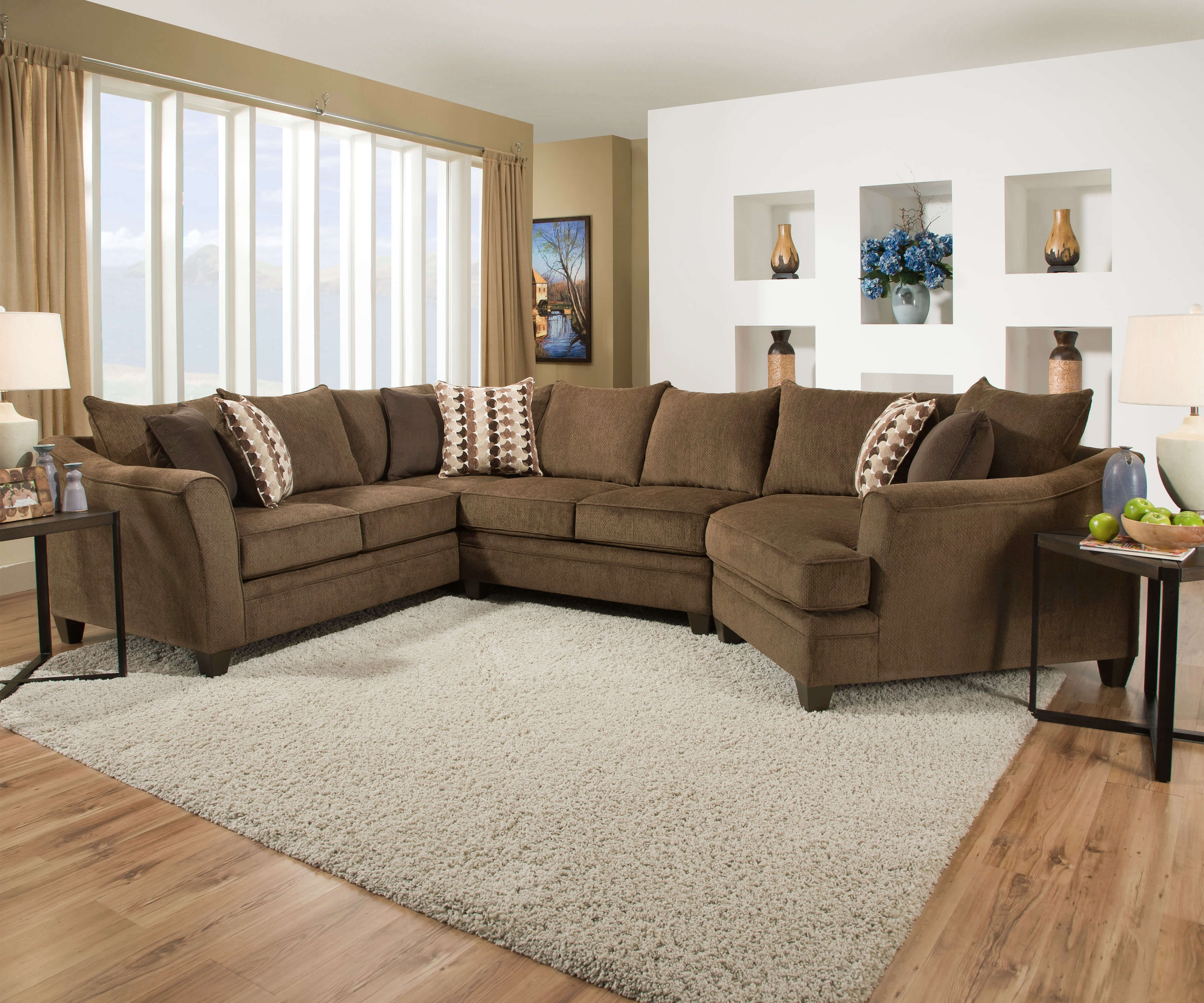 2018 Chestnut Sofa And Loveseatsimmons Intended For Simmons Sectional Sofas (View 7 of 20)