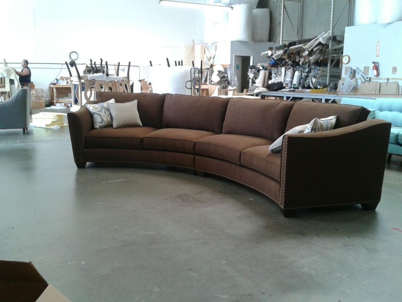 2018 Circular Sectional Sofas Pertaining To Curved Sectional Sofa Set – Rich Comfortable Upholstered Fabric (View 1 of 20)