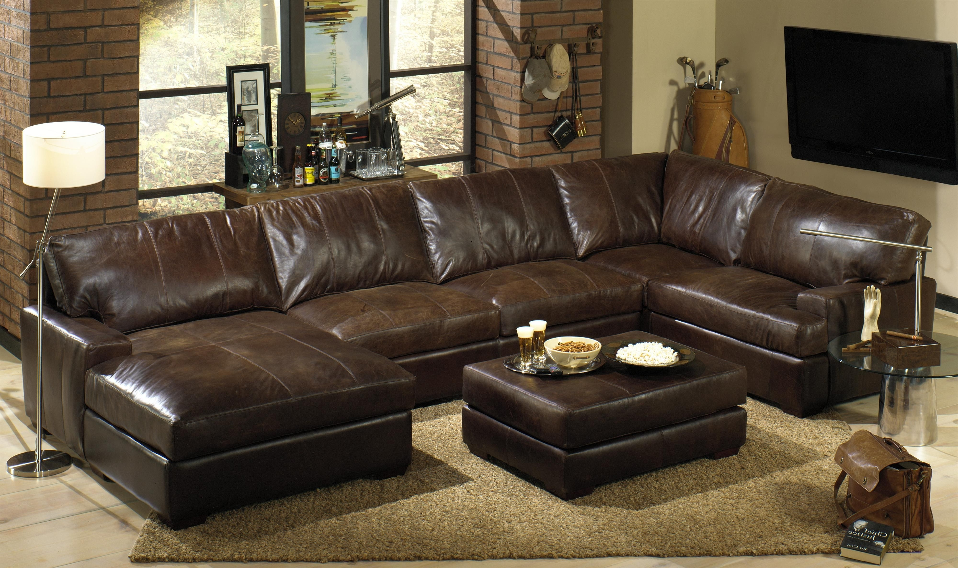 2018 Comfortable Sectional Couches For Versatile Home Furniture Ideas Inside Leather Sectionals With Ottoman (View 8 of 20)