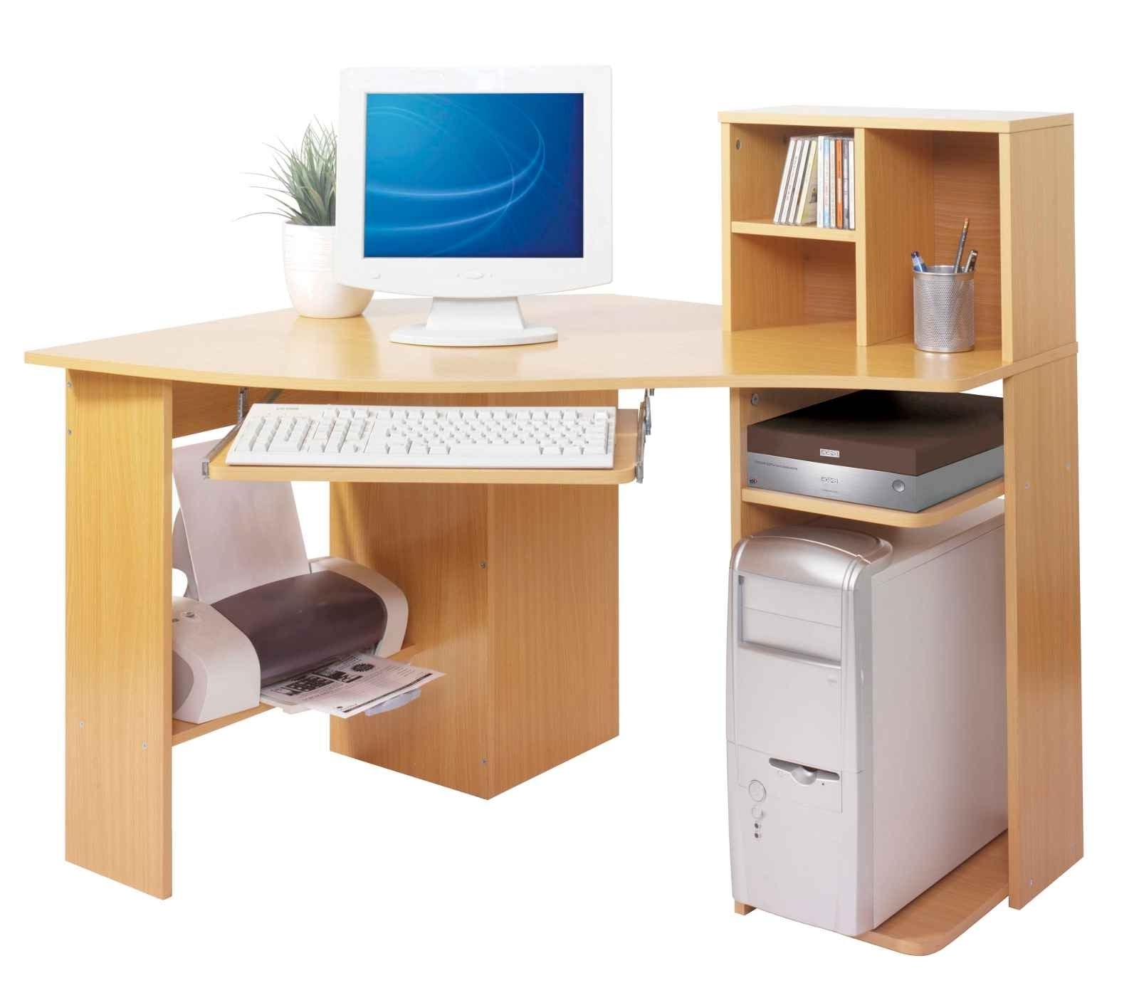 2018 Computer Desks With Printer Shelf Within Corner Computer Desk With Printer Shelf Furniture Light Brown And (View 1 of 20)