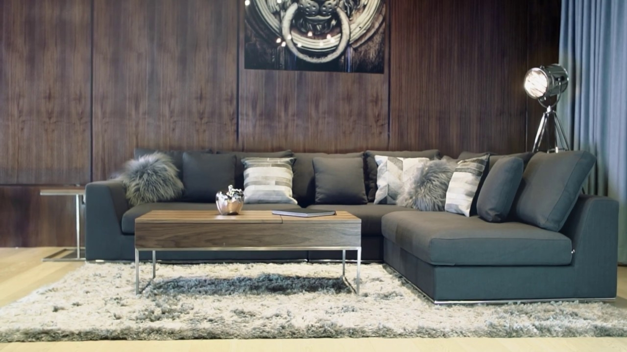 2018 Contemporary Fabric Sofas With Giovani Fabric Contemporary Sofa Gray – Youtube (View 11 of 20)