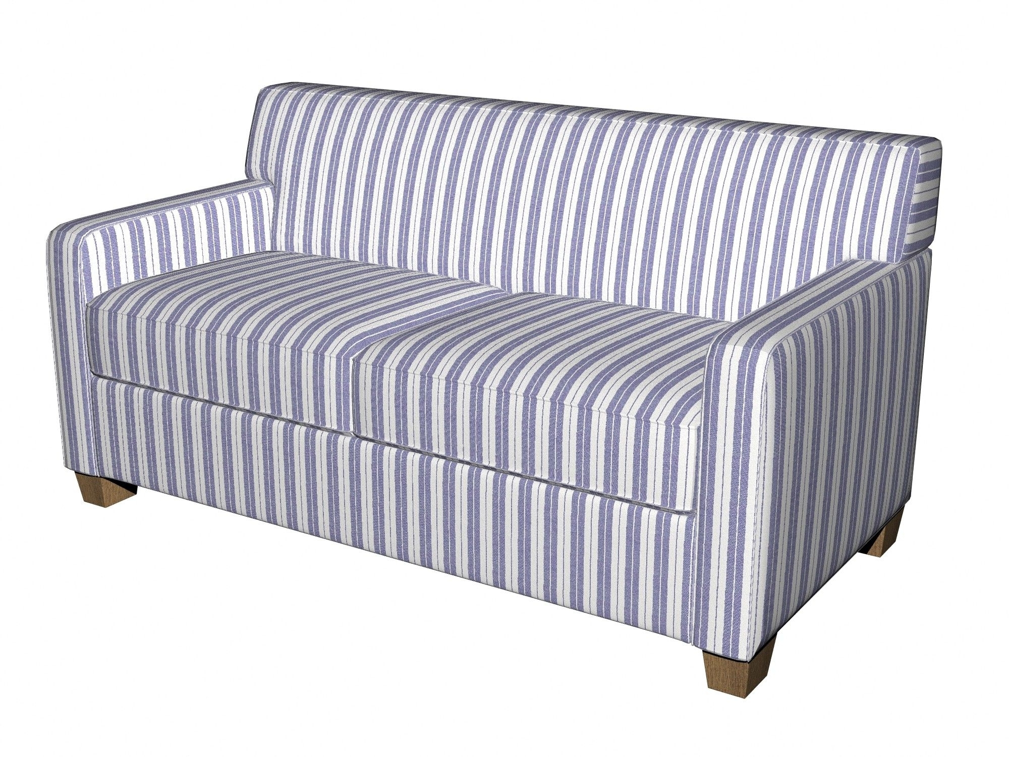 2018 Denim Blue And White Ticking Stripes Heavy Duty Upholstery Fabric Within Striped Sofas And Chairs (View 2 of 20)