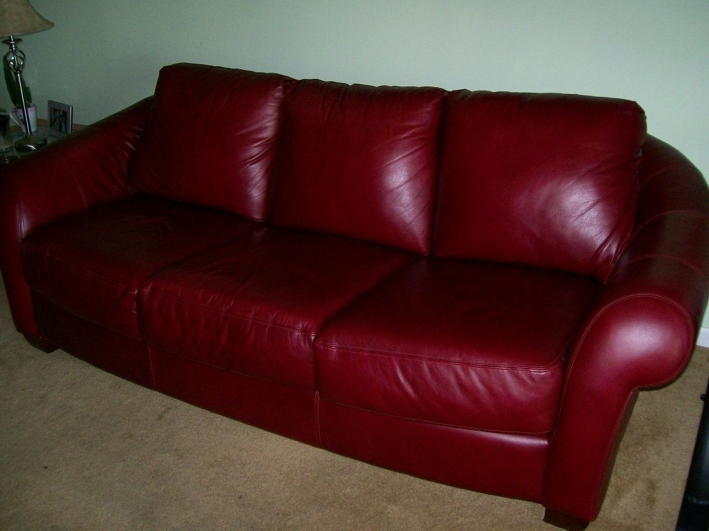 2018 Furniture Cherry Red Leather Sofa Gallery 14 Of 20