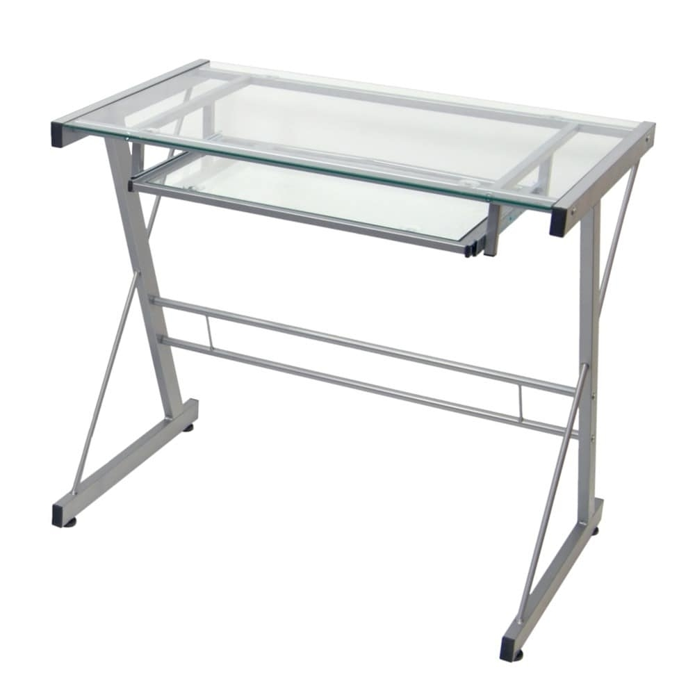 2018 Glass And Metal Computer Desks Regarding Silver Metal Glass Computer Desk – Free Shipping Today – Overstock (View 9 of 20)