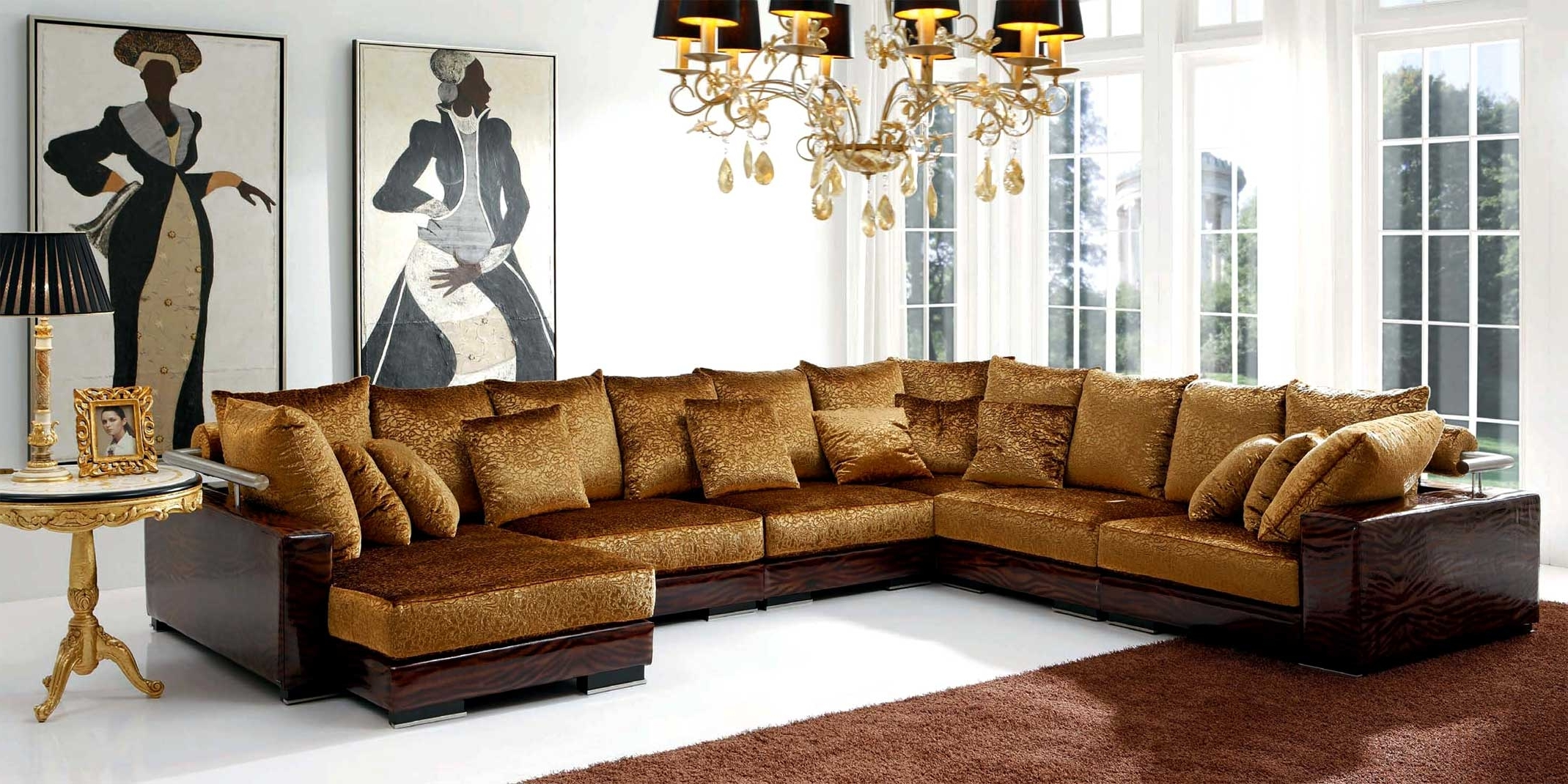2018 Gold Sectional Sofas Pertaining To Luxury Furniture Brands (View 12 of 20)