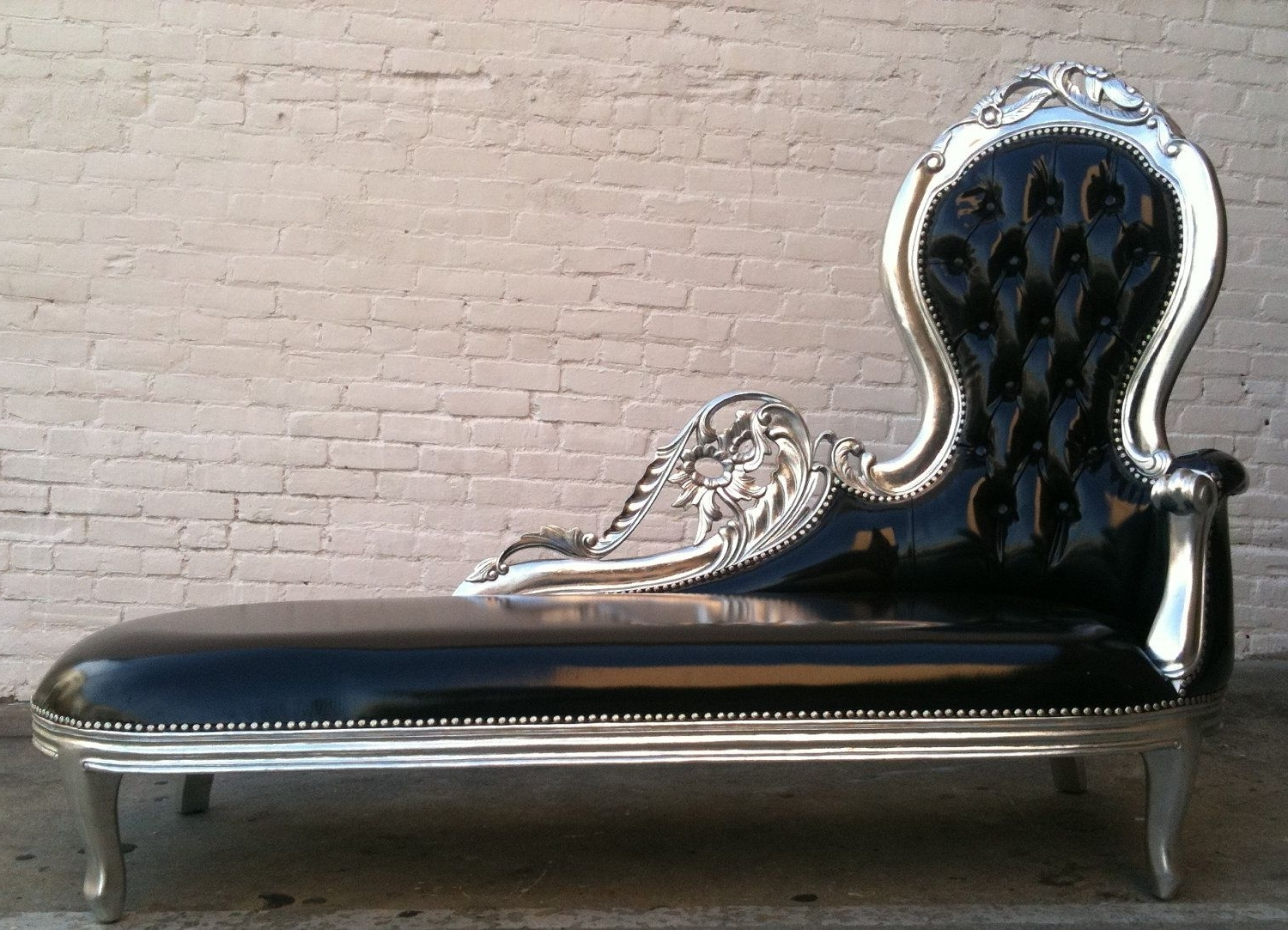 2018 Gothic Sofas In Shiny Black Vinyl & Silver Leaf Wooded Frame French Chaise Lounge (View 12 of 20)