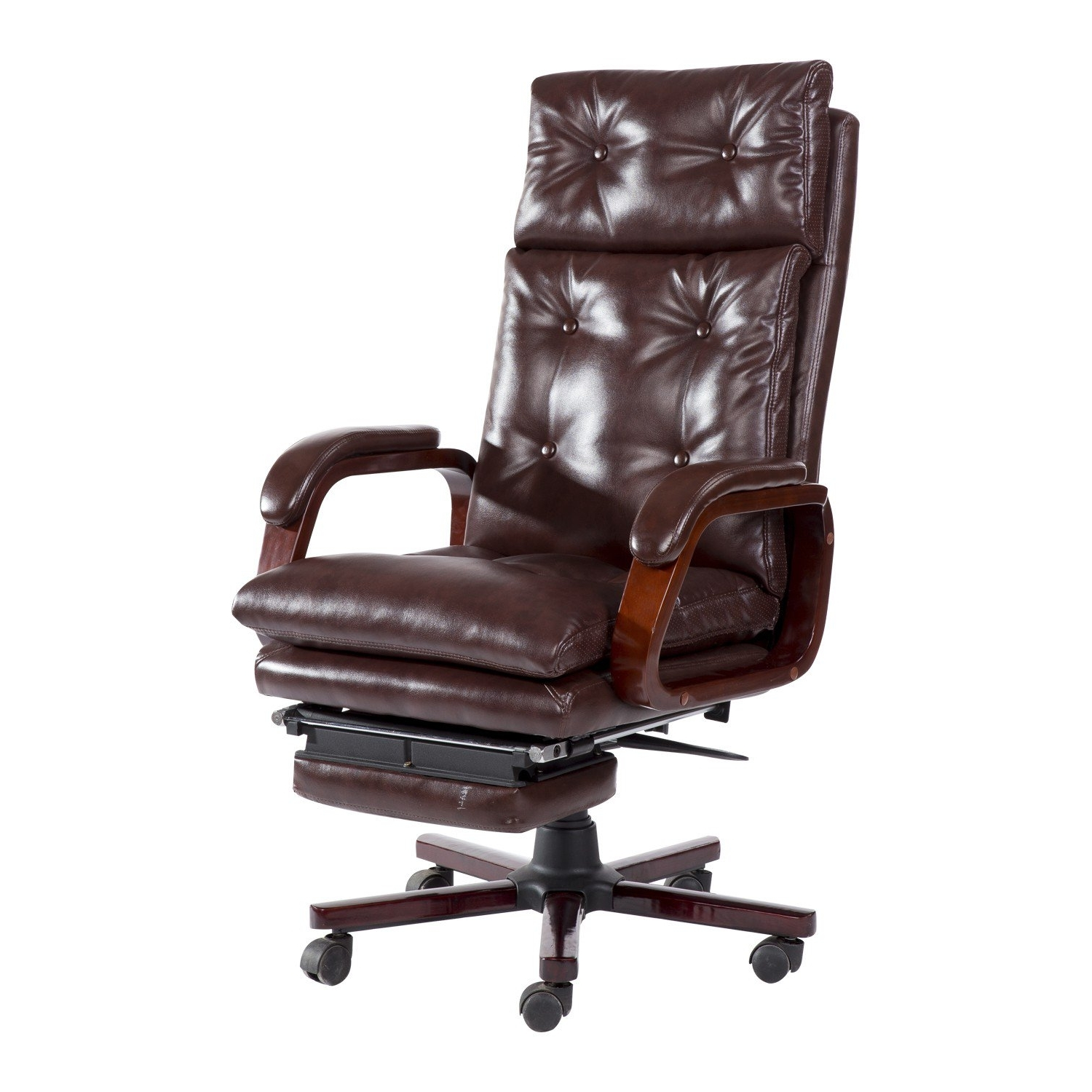 2018 Homcom High Back Pu Leather Executive Reclining Office Chair With In Executive Office Chairs With Footrest (View 1 of 20)