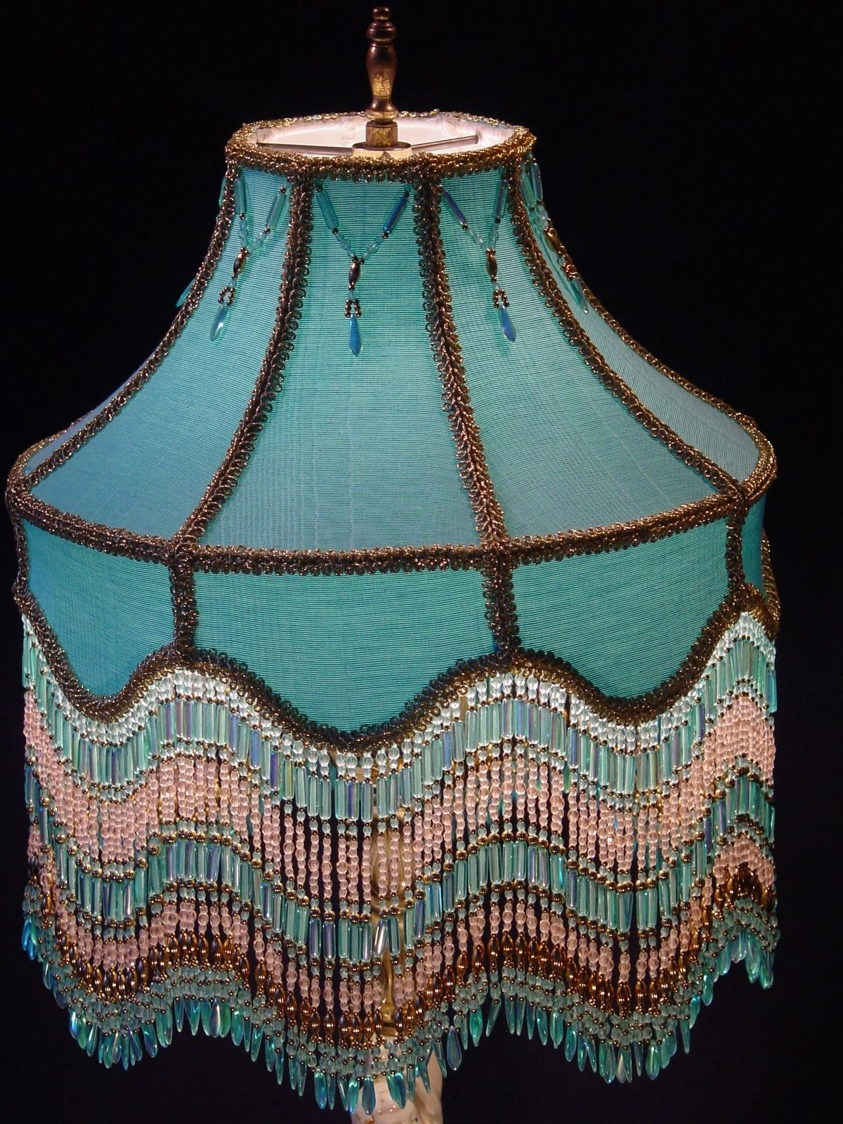 2018 Margarets Lamps 228 Http://shininglightstudio/victorian Beaded For Turquoise Chandelier Lamp Shades (View 19 of 20)