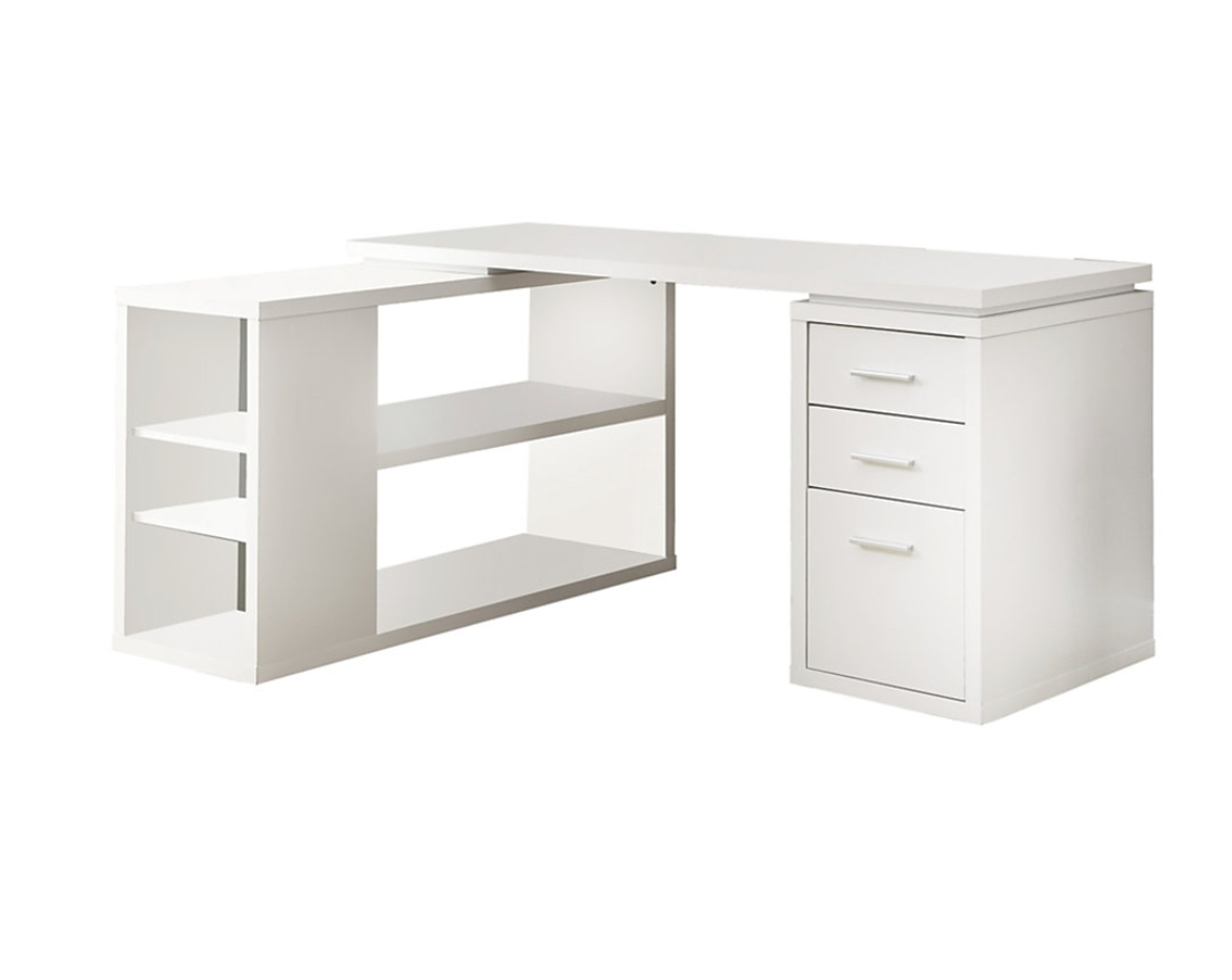 2018 Modern White L Shaped Computer Desk With Drawers And Shelves Of With Regard To Computer Desks In White (View 1 of 20)