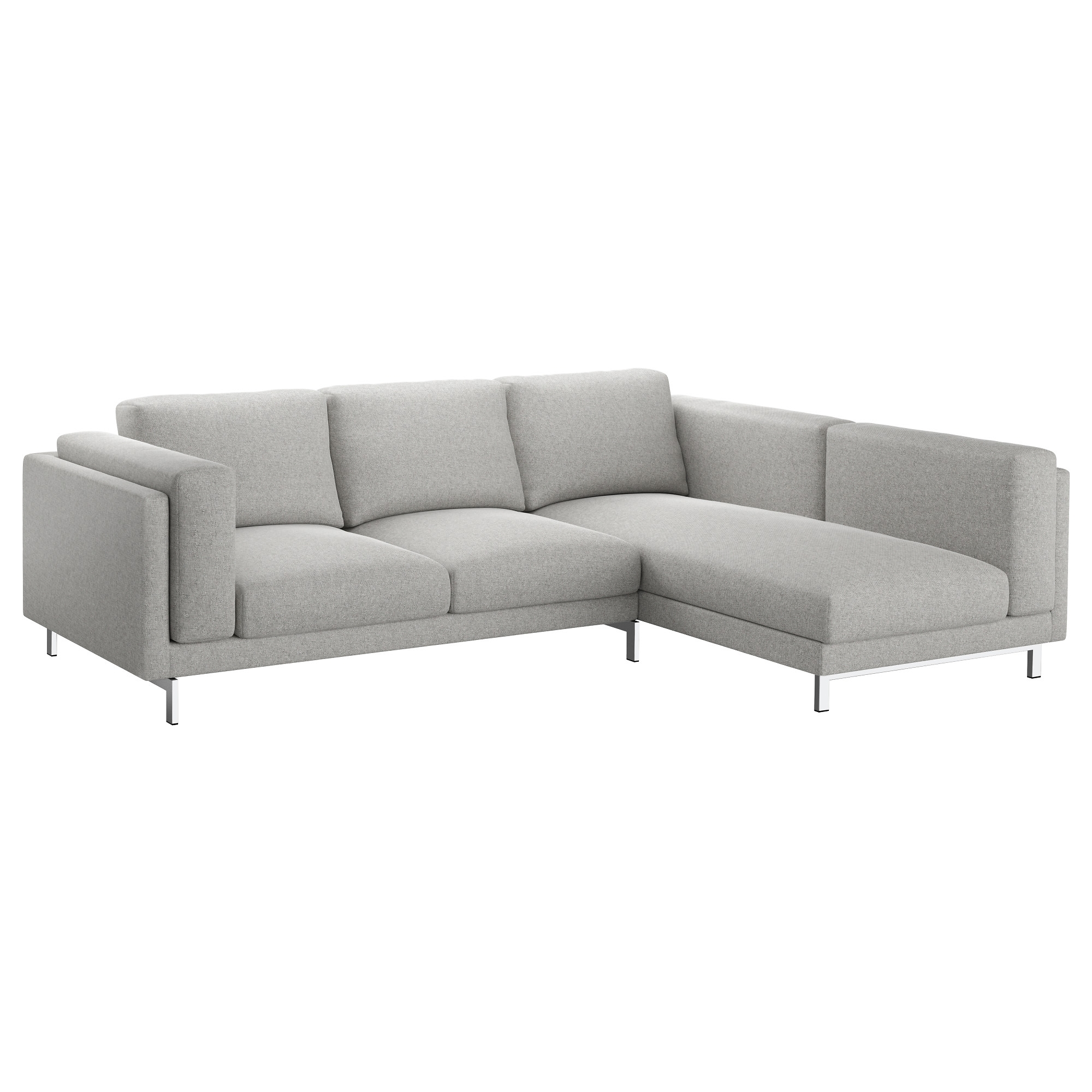 2018 Nockeby Sofa U2013 With Chaise, Left/tallmyra White/black, Chrome  Throughout