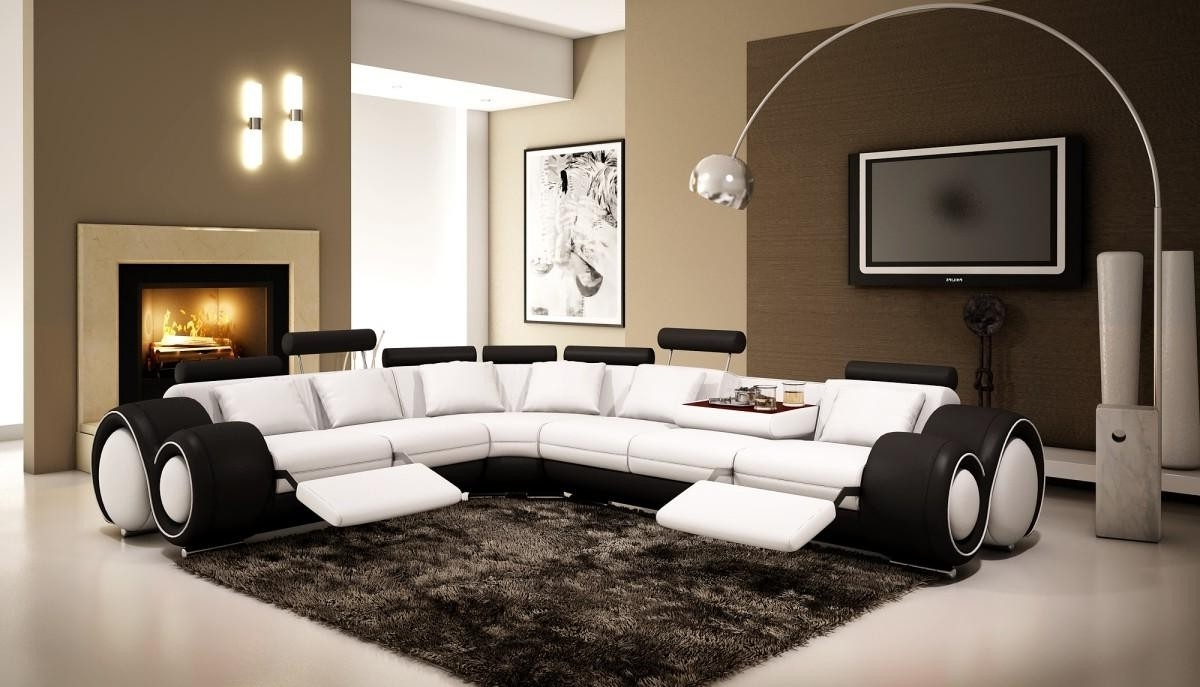 2018 Ottawa Sectional Sofas Pertaining To 4087 – Black And White Half Leather Sectional Sofa With Recliners (View 1 of 20)
