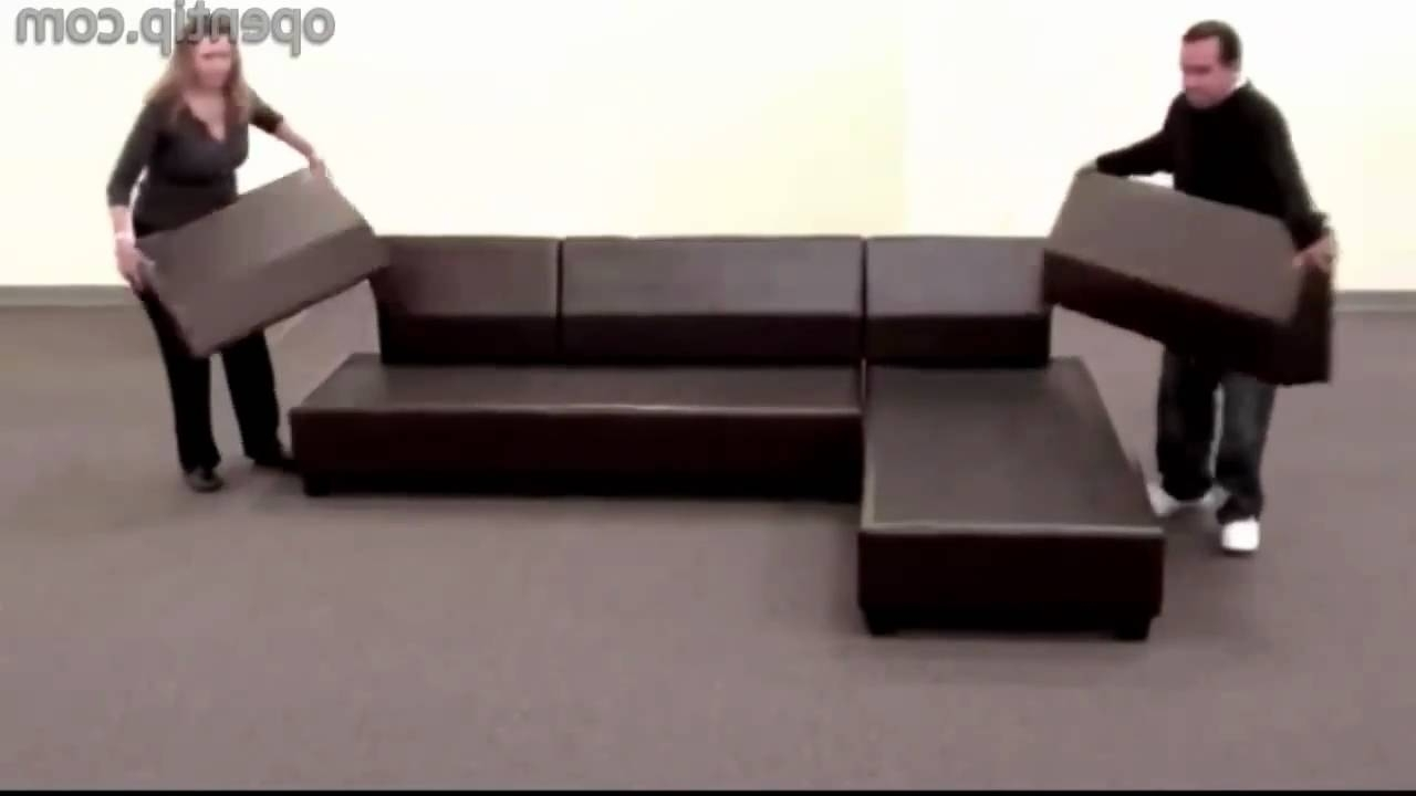 2018 Poundex 3Pcs Hungtinton Sectional Sofa Set (Ottoman Reversible With Faux Leather Sectional Sofas (View 1 of 20)