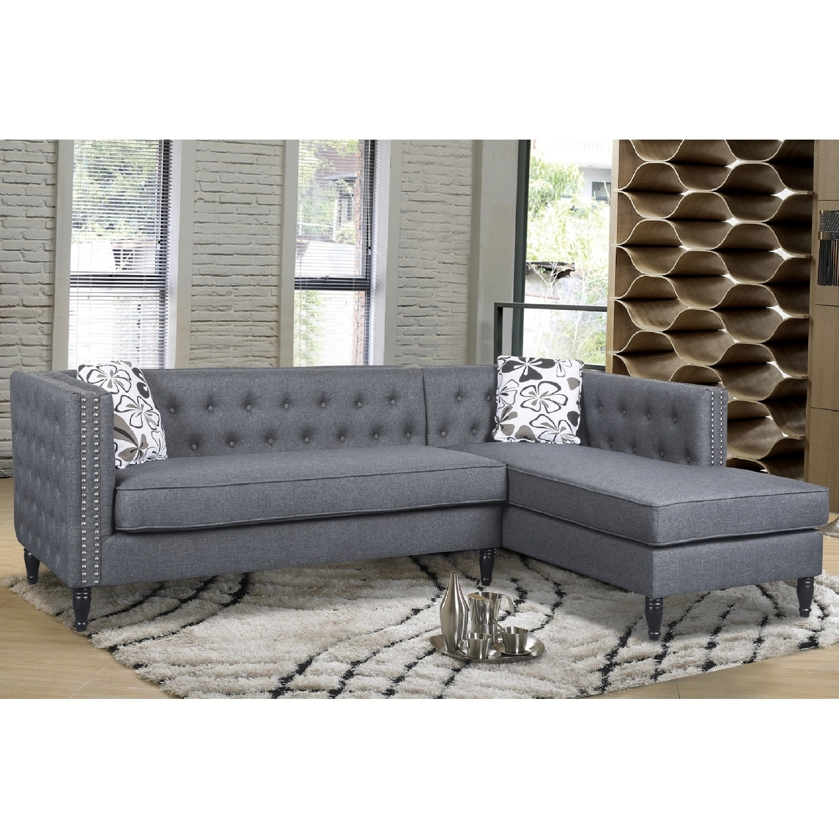 2018 Sectional Sofas With Nailhead Trim With Annie Tufted Nailhead Trim Left Facing Sectional Sofa (View 16 of 20)