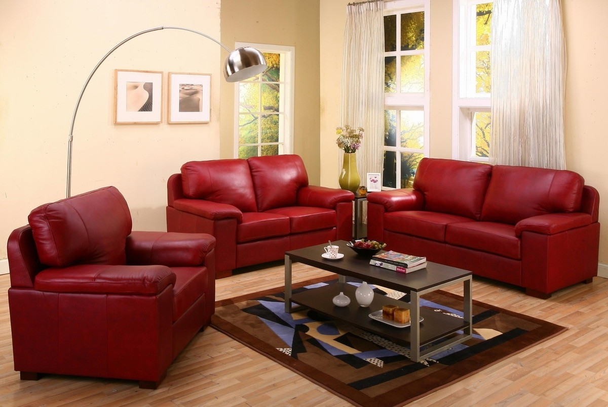 2018 Simple Red Leather Tufted Backrest Loveseat With Shelter Armrest With Regard To Red Leather Couches And Loveseats (View 2 of 20)