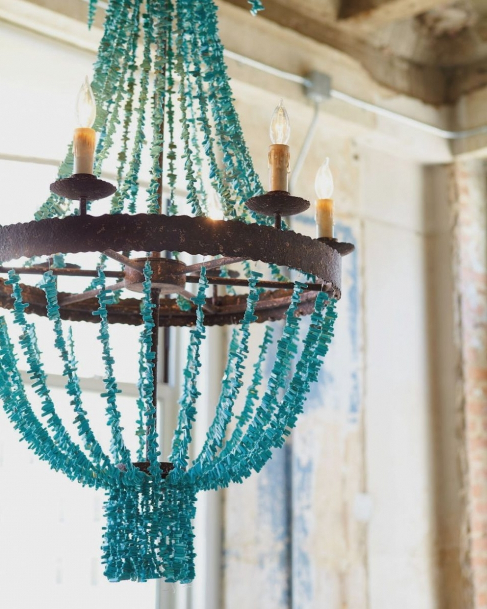 2018 Small Turquoise Beaded Chandeliers Throughout Turquoise Chandelier Lighting (View 12 of 20)