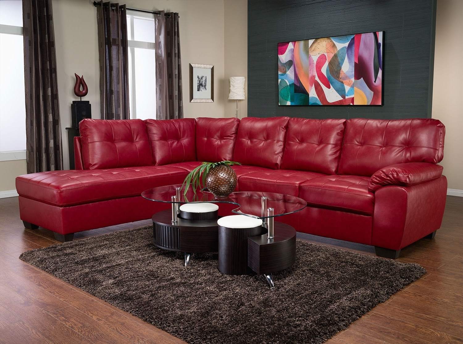 2018 Tobi Bonded Leather Right Facing Sectional – Red (View 3 of 20)