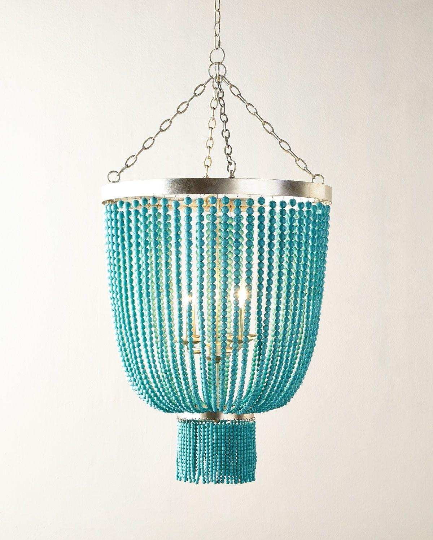 2018 Turquoise Beaded Chandelier Light Fixtures Regarding Lighting : Aqua Light Turquoise Green Vintage Style Chandelier (Gallery 8 of 20)