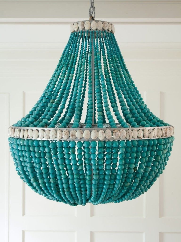 2018 Turquoise Wood Bead Chandeliers For Chandeliers : Gallery Collection Aqua Chandelier Shades Photo Design (View 1 of 20)