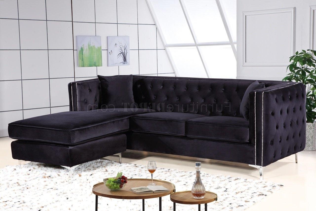 2018 Velvet Sectional Sofas For Sectional Sofa 668 In Black Velvet Fabricmeridian (View 1 of 20)