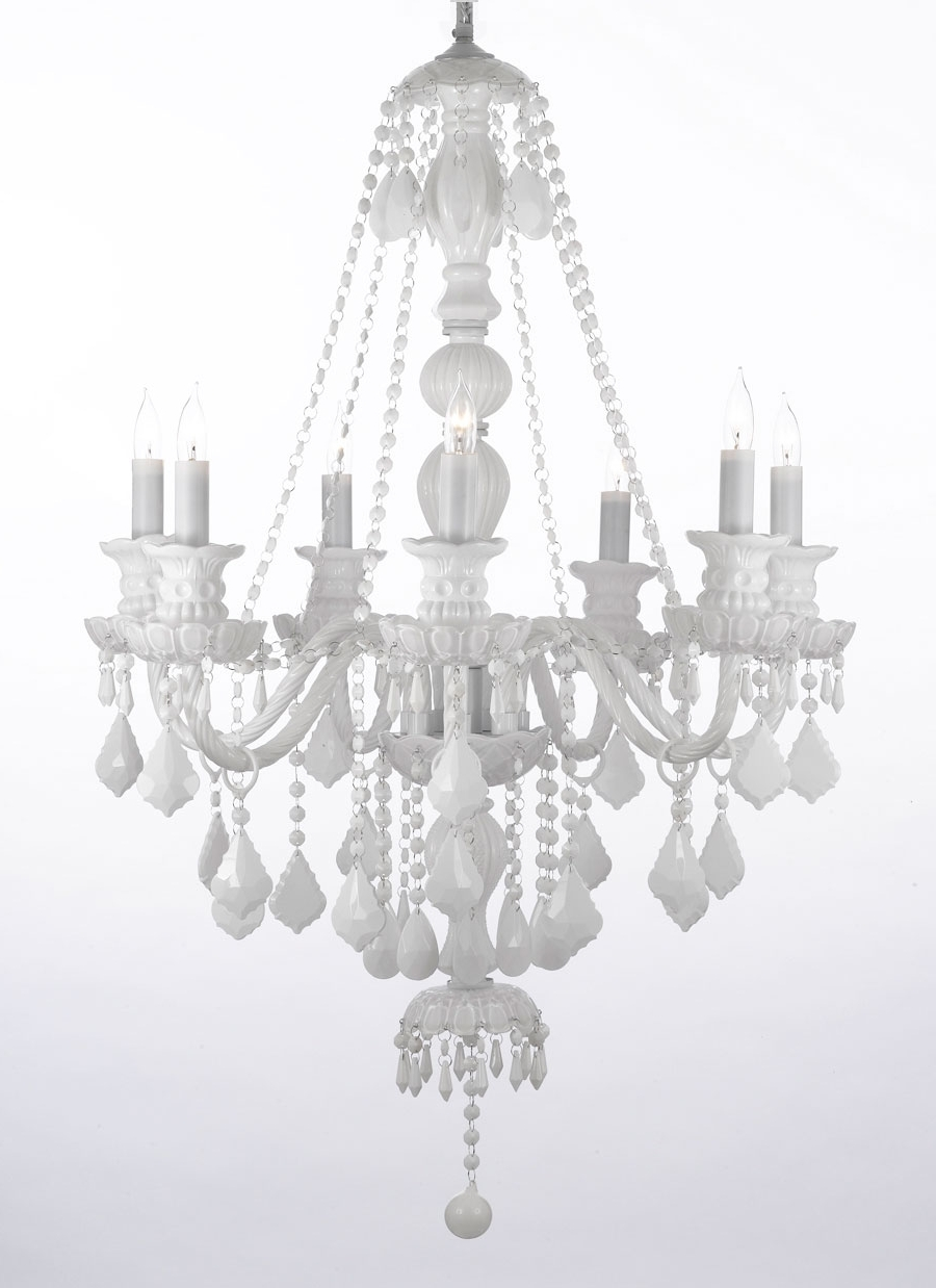 2018 White Chandelier Regarding G46 White/sm/490/7 Gallery Murano Venetian Style Snow White Crystal (View 1 of 20)
