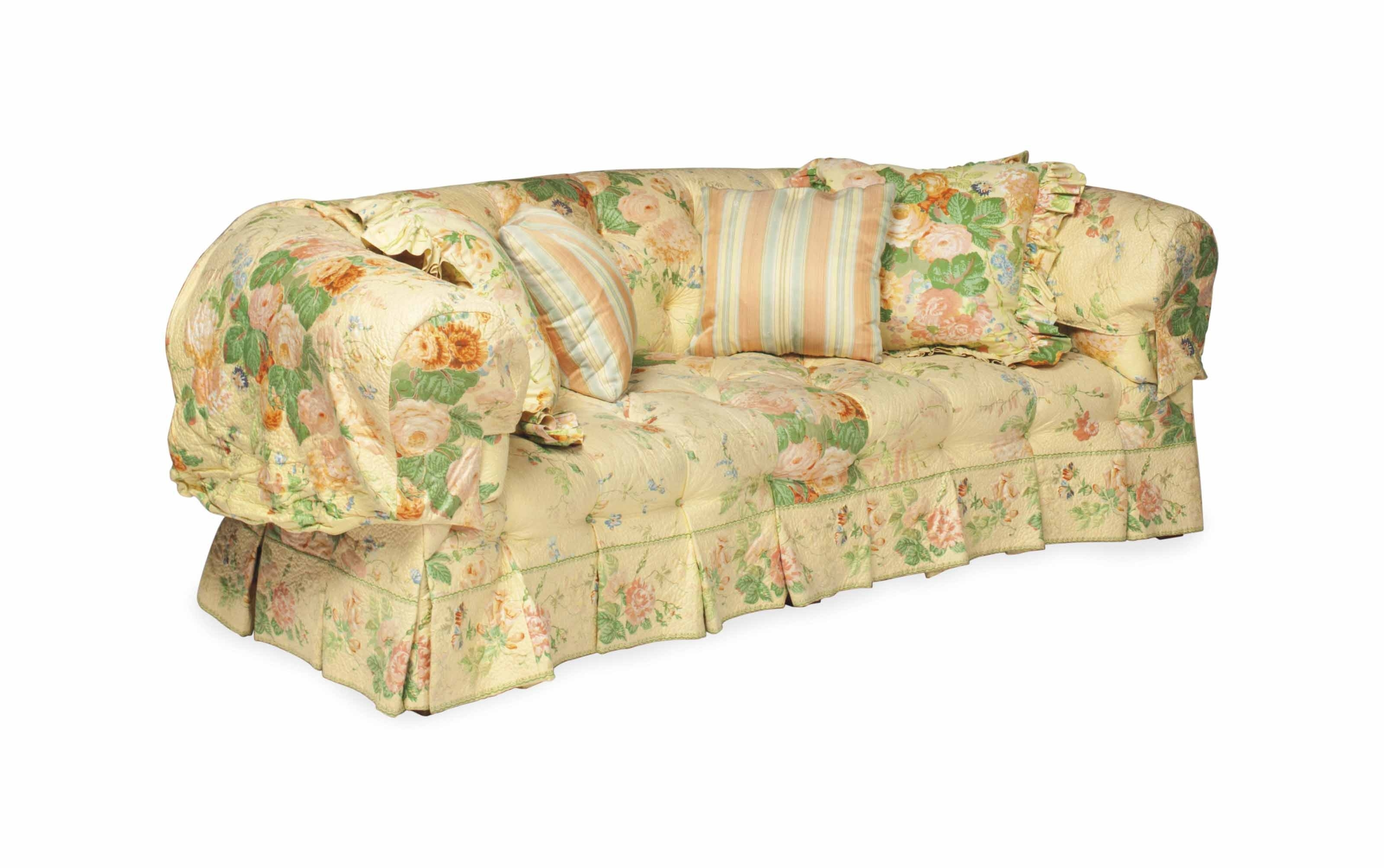 2019 A Button Tufted Sofa Covered In Quilted Yellow Chintz, (View 1 of 20)