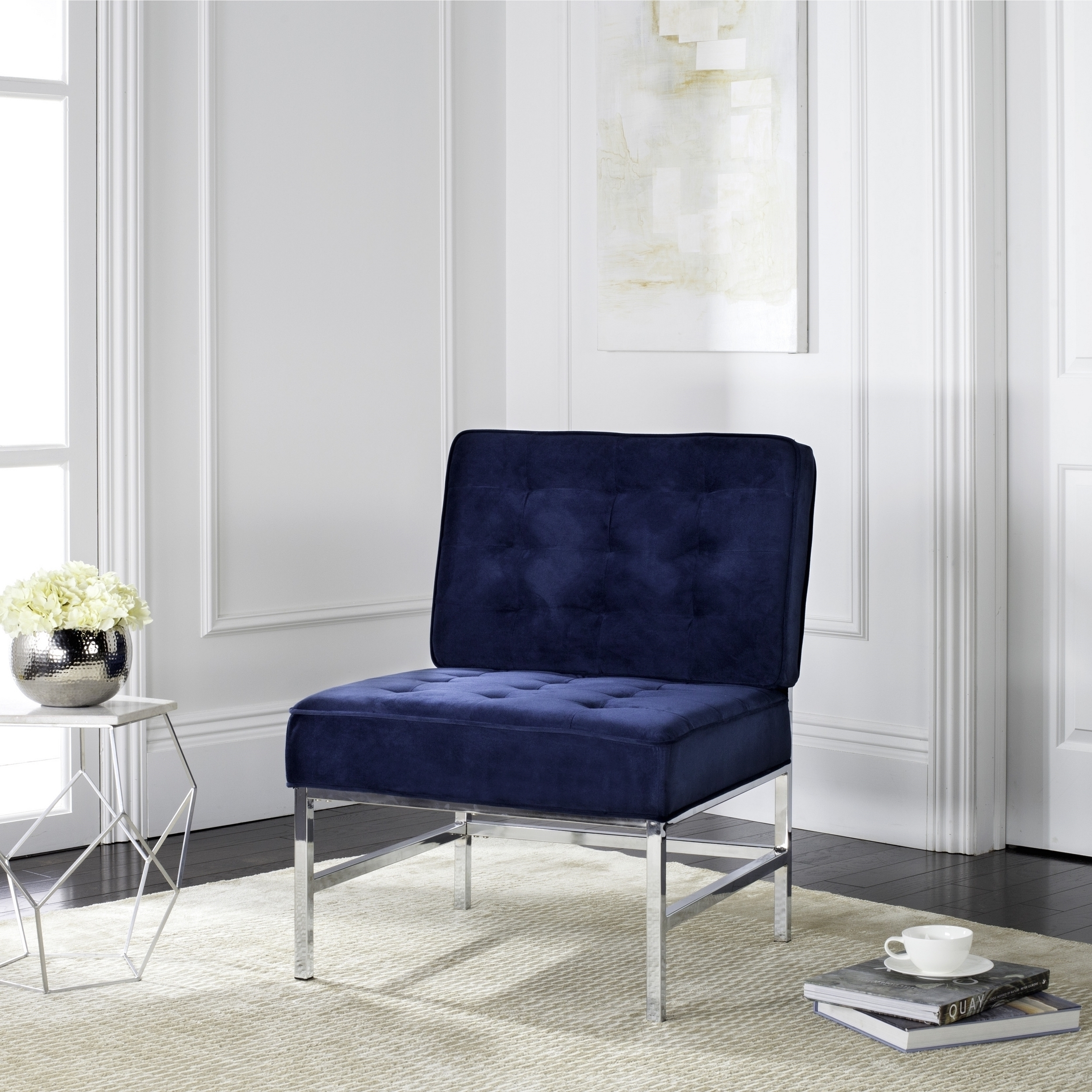 2019 Accent Sofa Chairs Intended For Ansel Blue Velvet Tufted Accent Chair Contemporary Armless Sofa (View 2 of 20)
