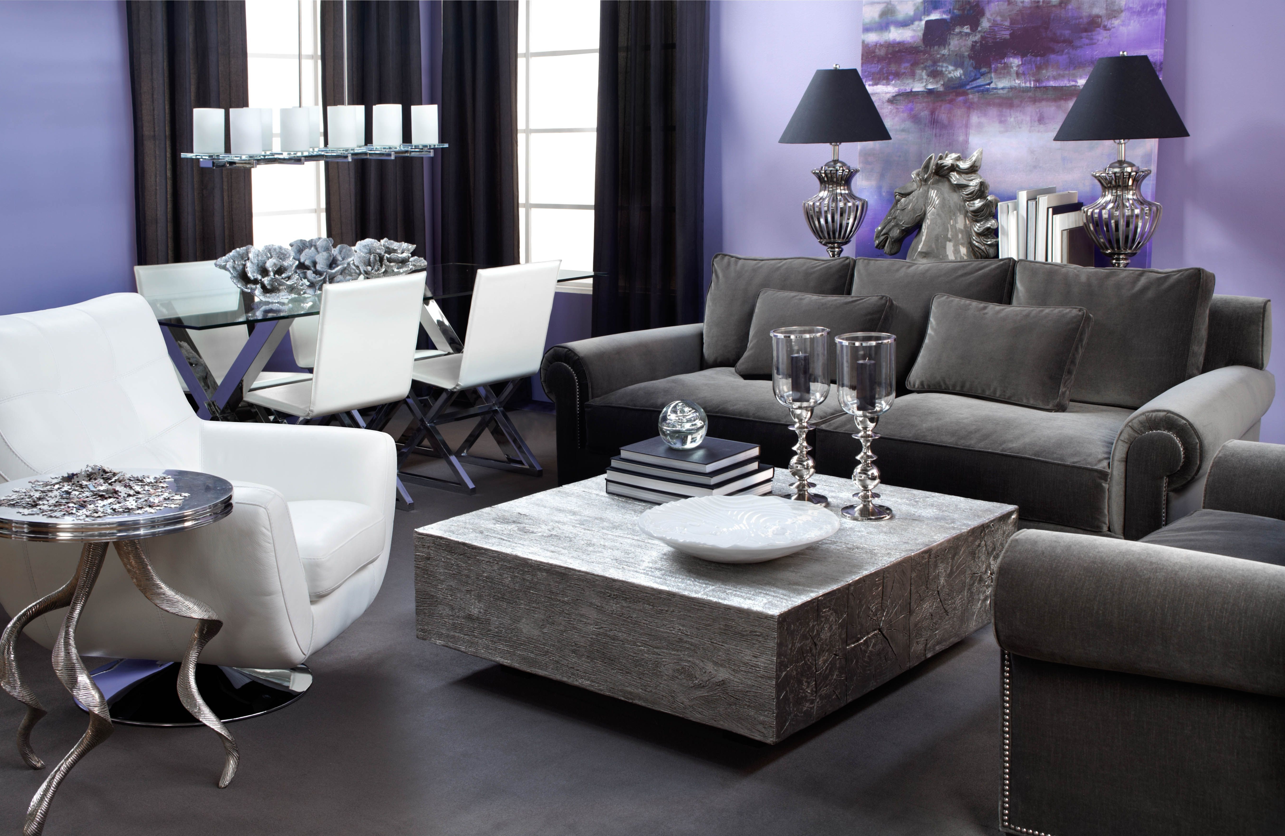 2019 Aubergine Pairs Well With Charcoal Grey Sofas, Silver Accents, And In Charcoal Grey Sofas (View 3 of 20)