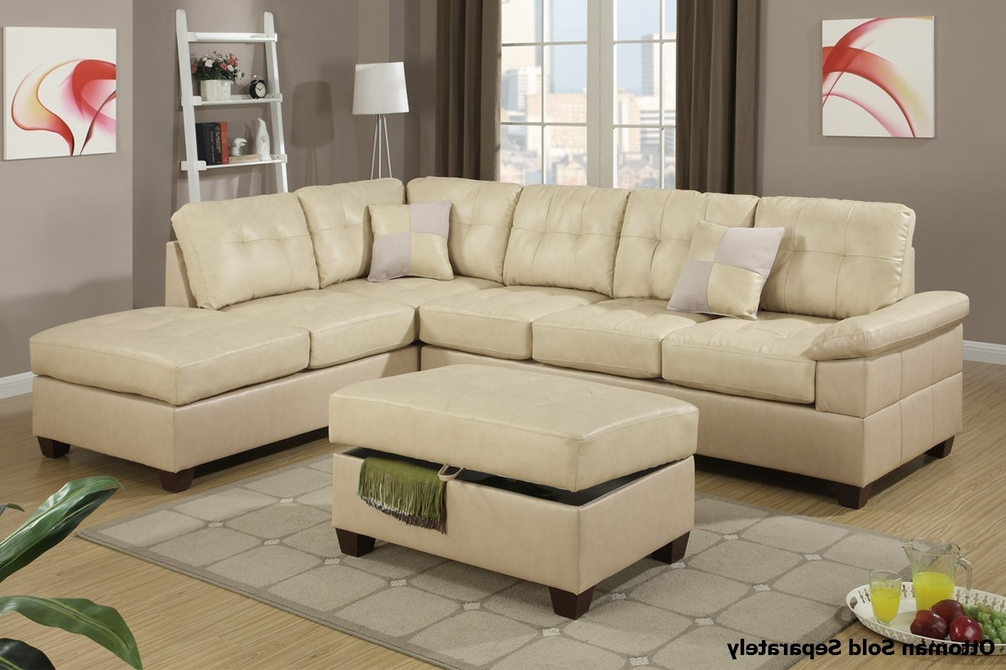2019 Beige Sectional Sofas Regarding Sectional Sofa Design: Amazing Beige Leather Sectional Sofa Light (View 2 of 20)