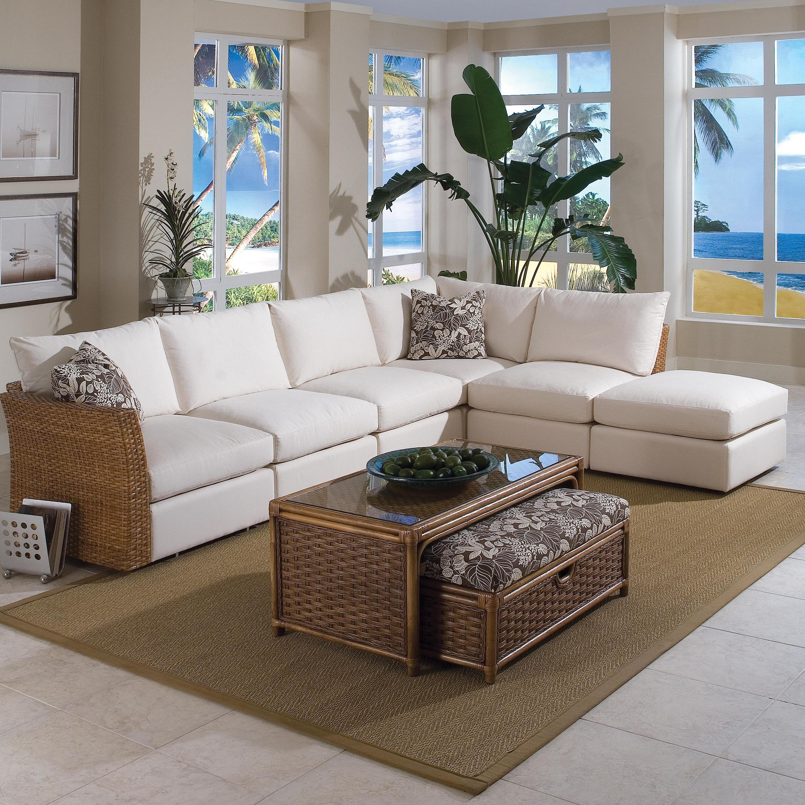 2019 Braxton Culler Grand Water Point Tropical Sectional Sofa With Two For Wilmington Nc Sectional Sofas (View 1 of 20)