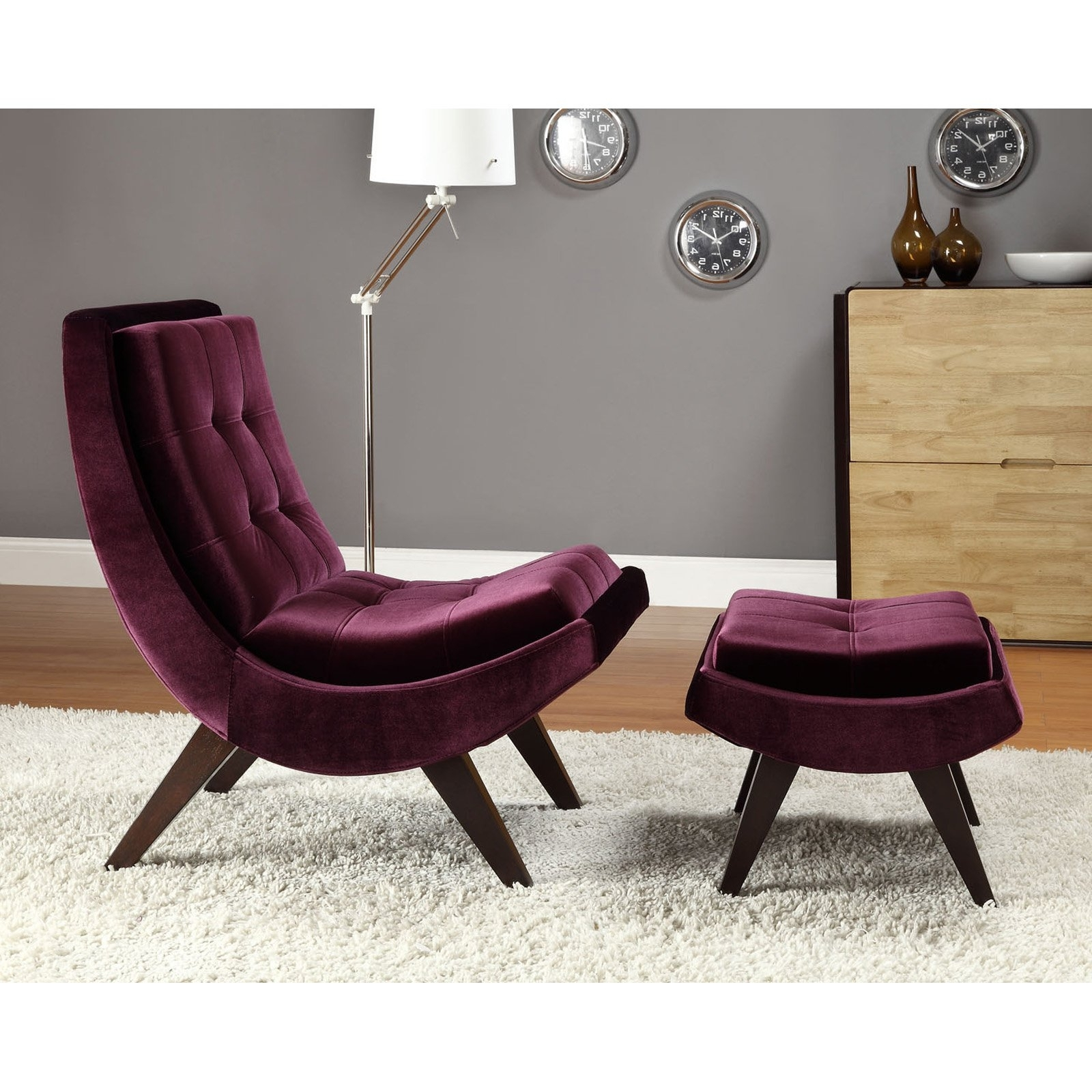 2019 Chairs With Ottoman Within Chelsea Lane Lashay Velvet Lounge Chair & Ottoman – Purple (View 6 of 20)