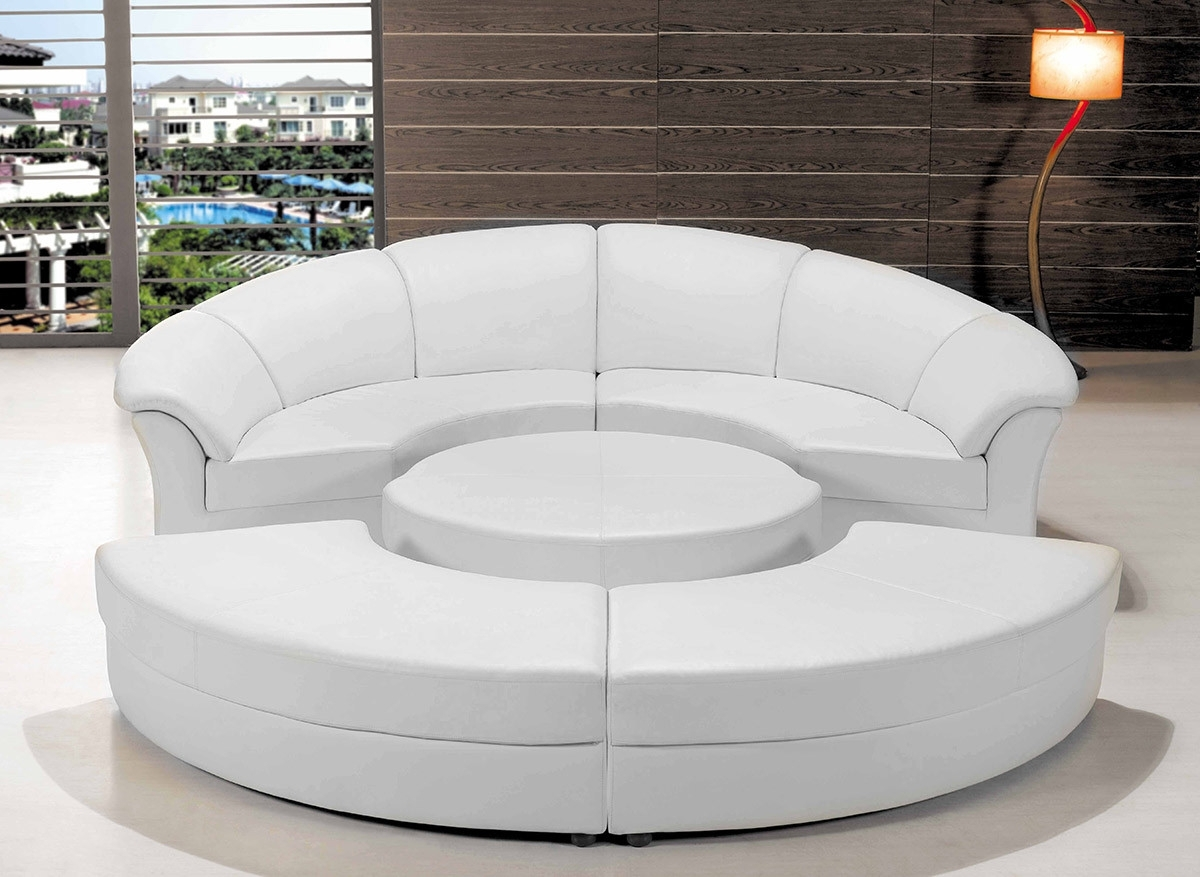 2019 Circle Sofas With Regard To Modern White Leather Circular Sectional Sofa (View 2 of 20)