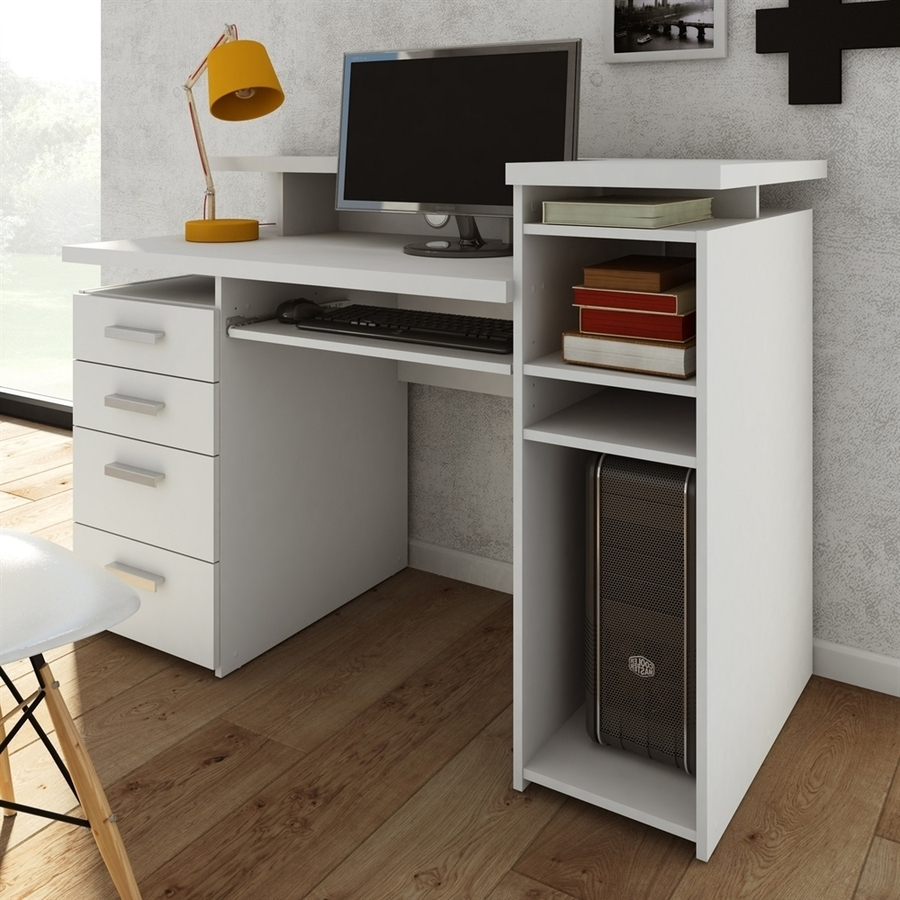 2019 Computer Desks At Lowes For Shop Tvilum Wheaton Contemporary White Computer Desk At Lowes (View 9 of 20)