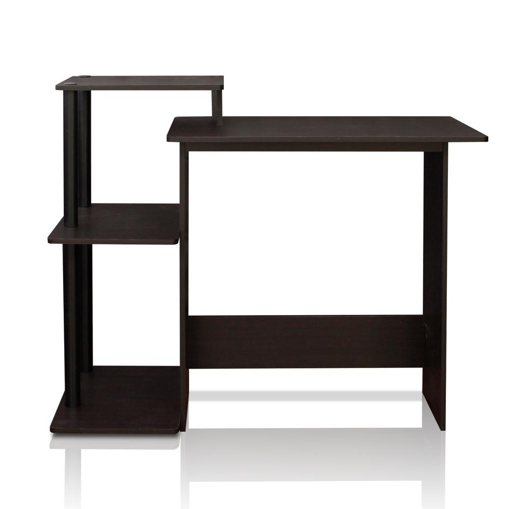 2019 Computer Desks With Shelves With Furinno Efficient Espresso And Black Home Computer Desk With (View 13 of 20)