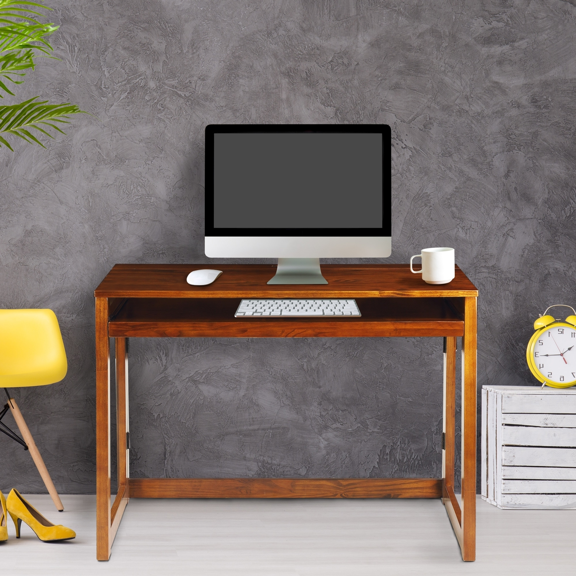2019 Computer Desks With Usb Ports Regarding Modern Folding Desk With 4 Usb Ports – Warm Brown – Free Shipping (View 10 of 20)