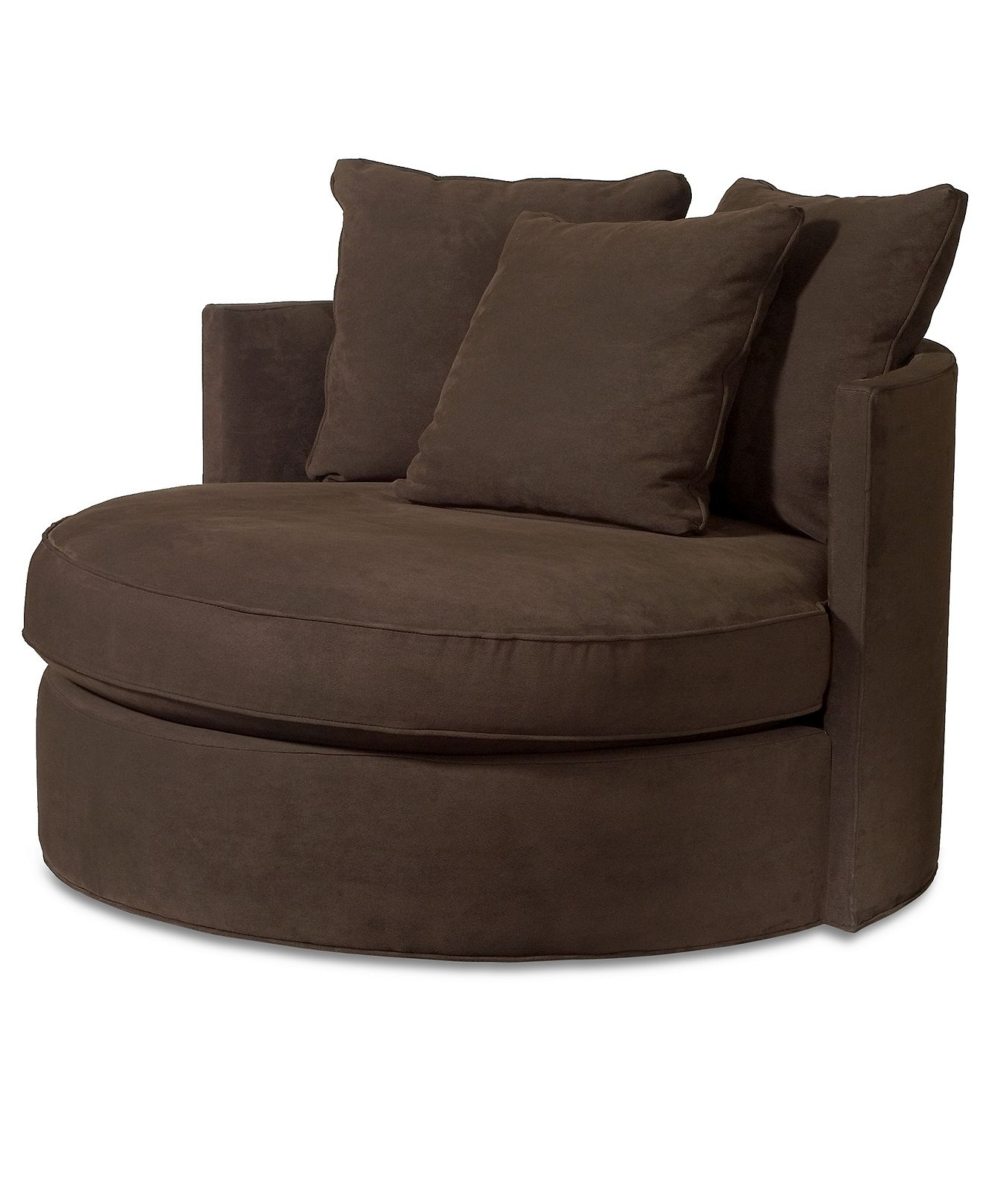 "2019 Doss Godiva Fabric Microfiber Living Room Chair, Round Swivel 50""w With Round Swivel Sofa Chairs (View 12 of 20)"