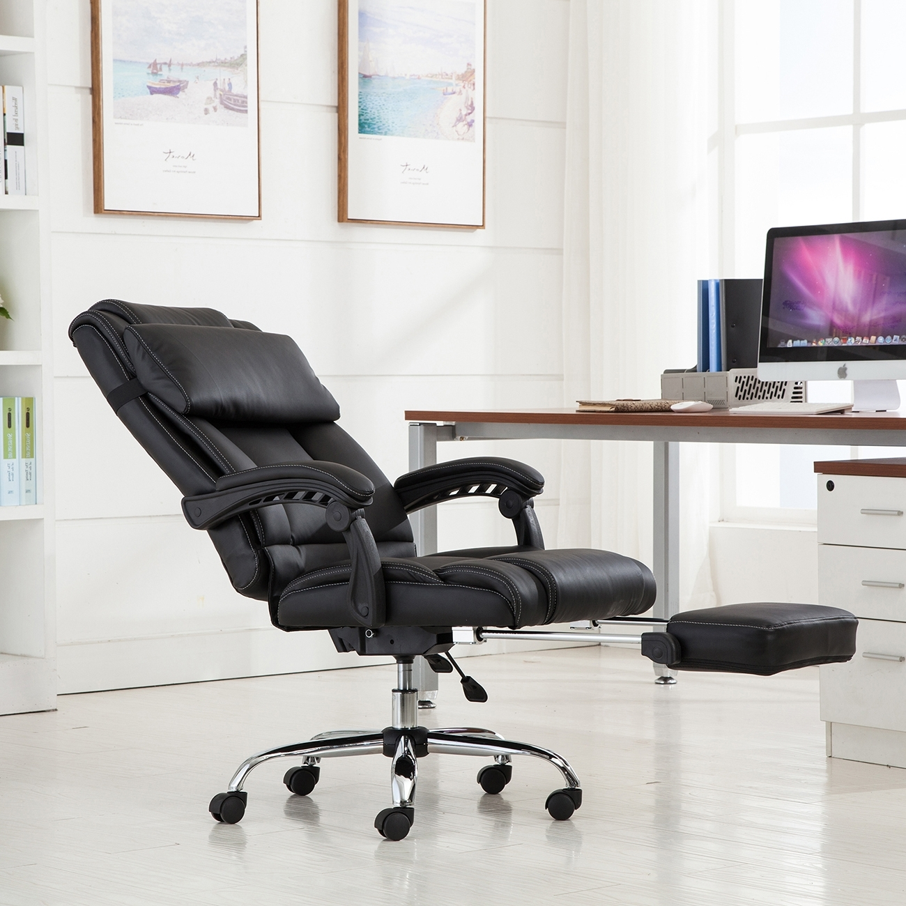 2019 Executive Office Chairs With Footrest In Reclining Chair Ergonomic High Back Leather