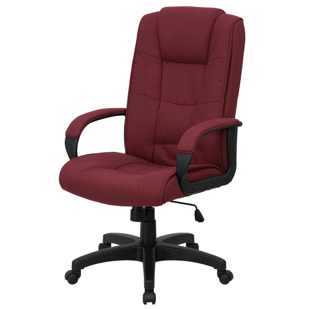 2019 Fabric Executive Office Chairs With Regard To Flash Furniture High Back Burgundy Fabric Executive Swivel Office (View 2 of 20)