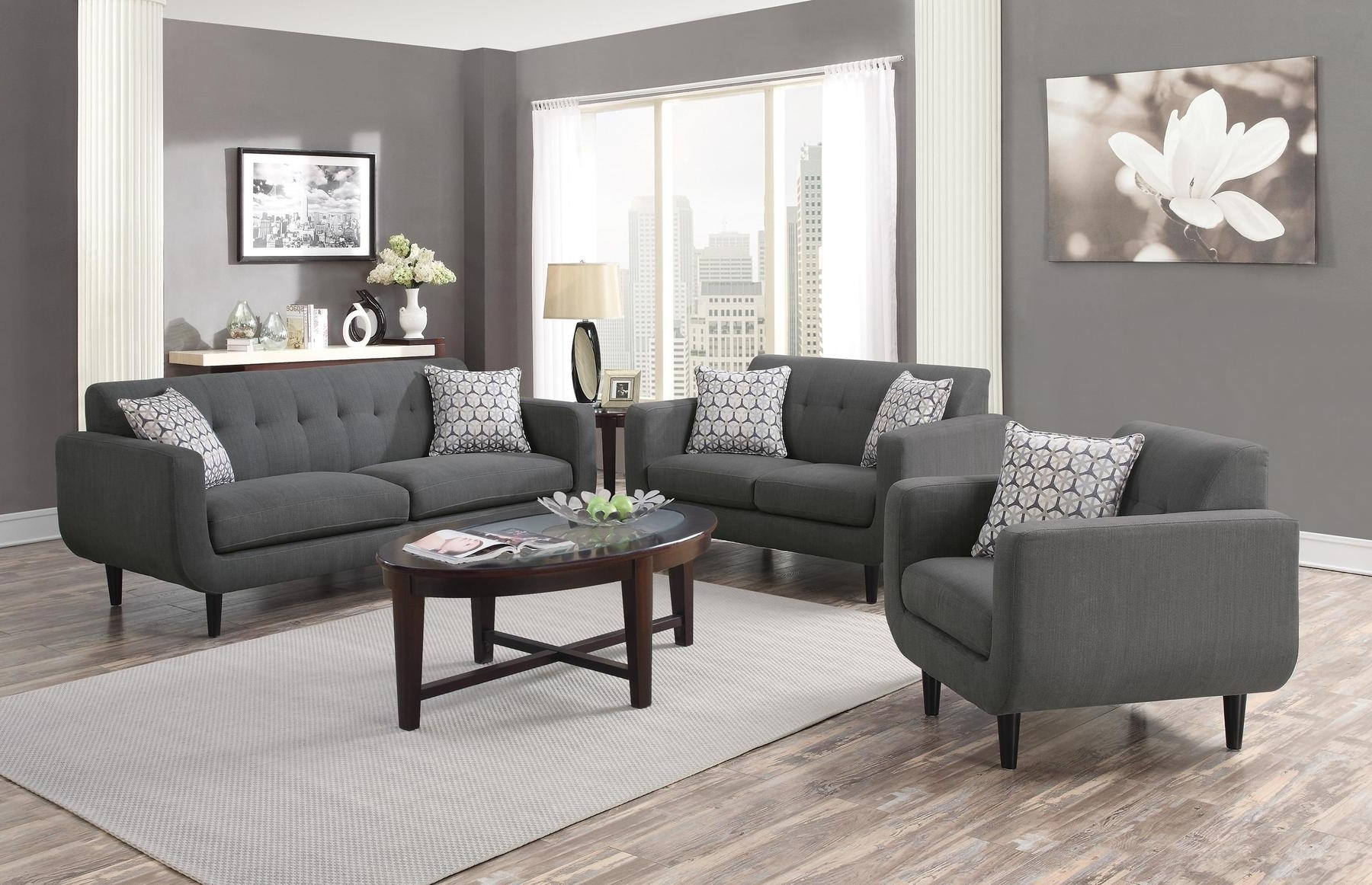 2019 Fabric Sofas For Stansall Gray Sofa 505201 Coaster Furniture Fabric Sofas At (View 9 of 20)